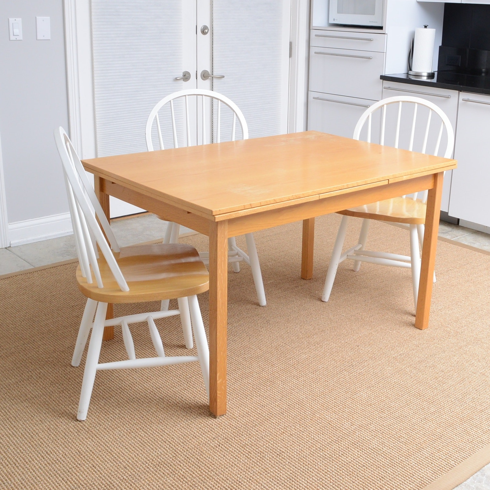 Danish Made Oak Kitchen Table and Three Windsor Chairs