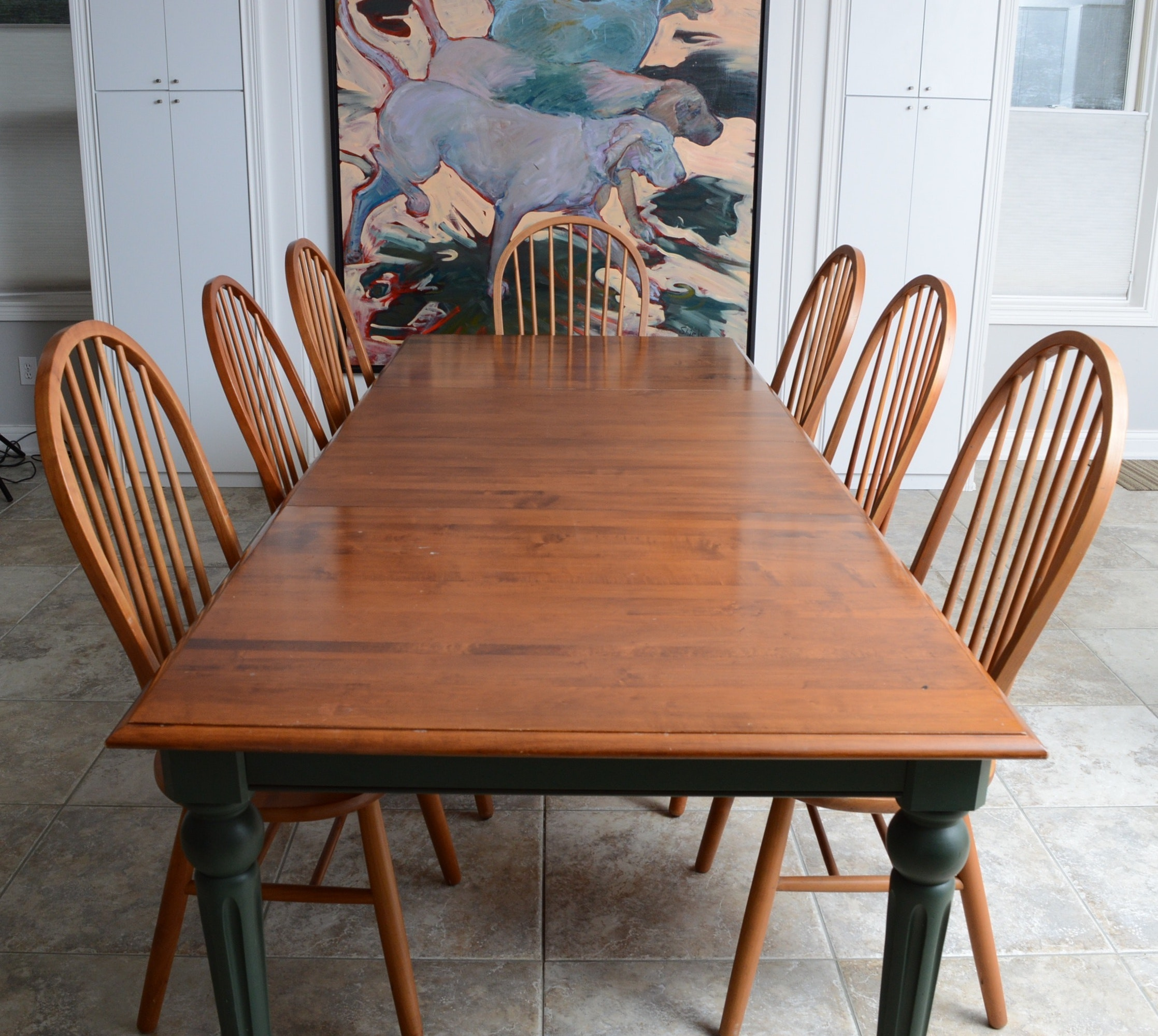 "Ethan Allen ""Country Classics"" Dining Table with Six Windsor Chairs"