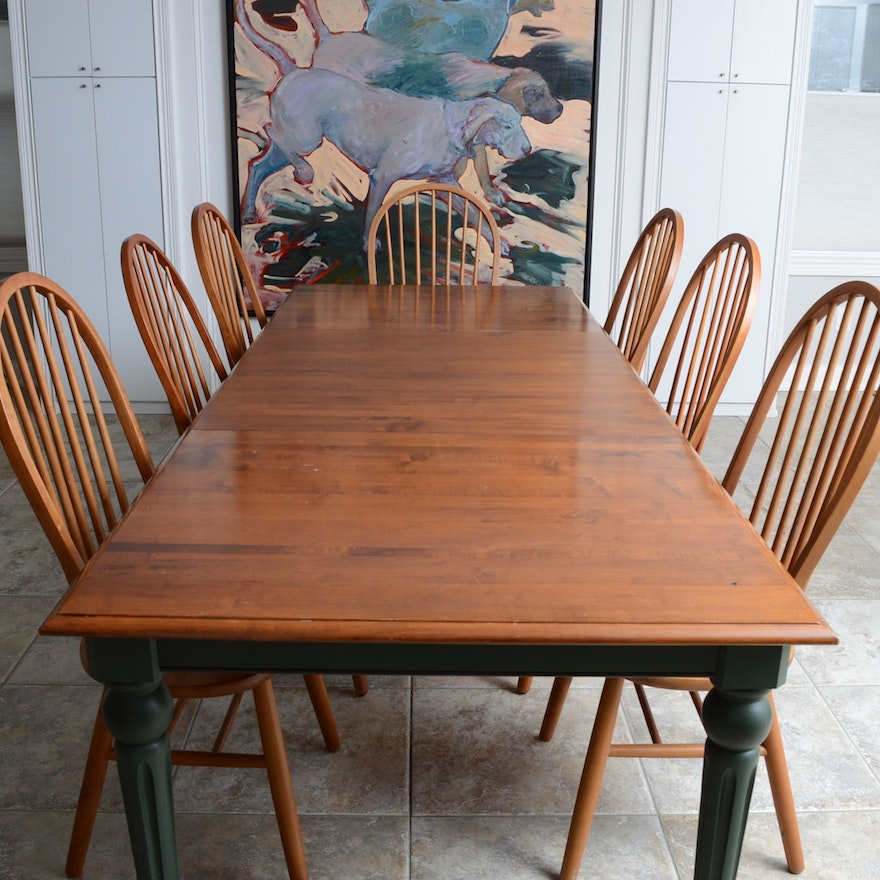 Ethan Allen Country Clics Dining Table With Six Windsor Chairs Ebth