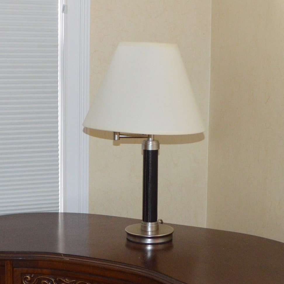 Desk Lamp with Leather Wrapped Body