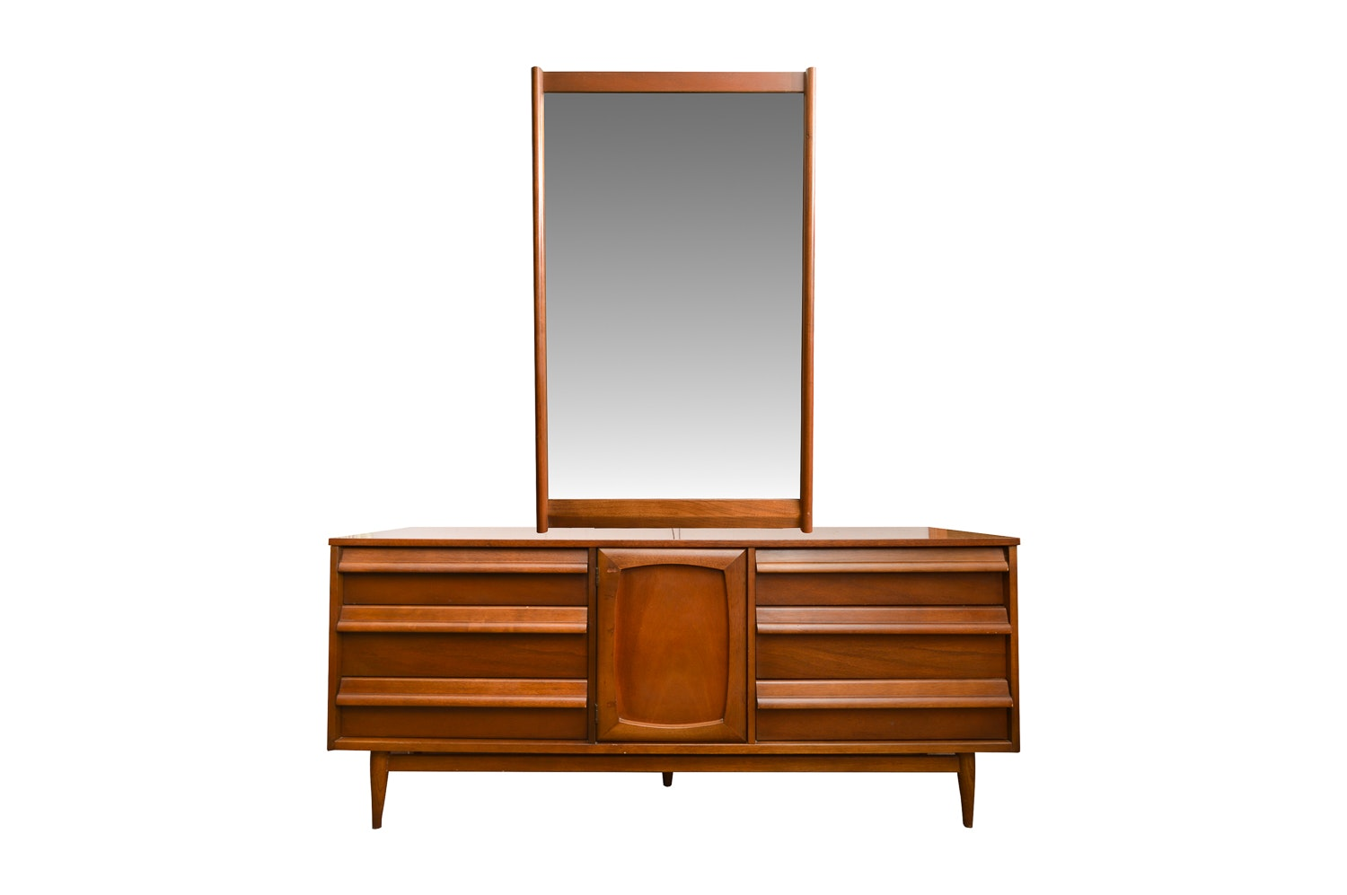 Mid Century Modern Walnut Dresser with Mirror from Style House
