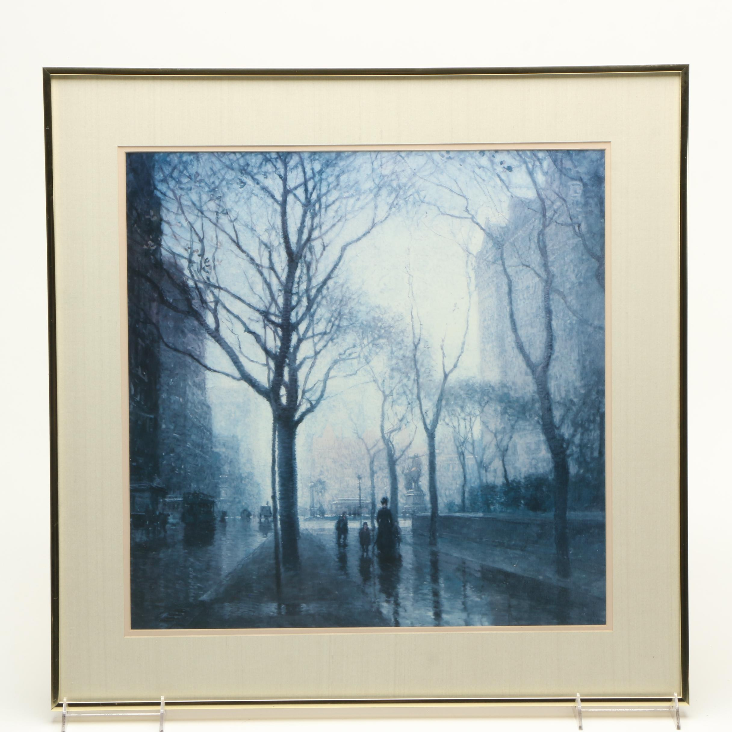 """Offset Lithograph After Paul Cornoyer's Painting """"Plaza After the Rain"""""""