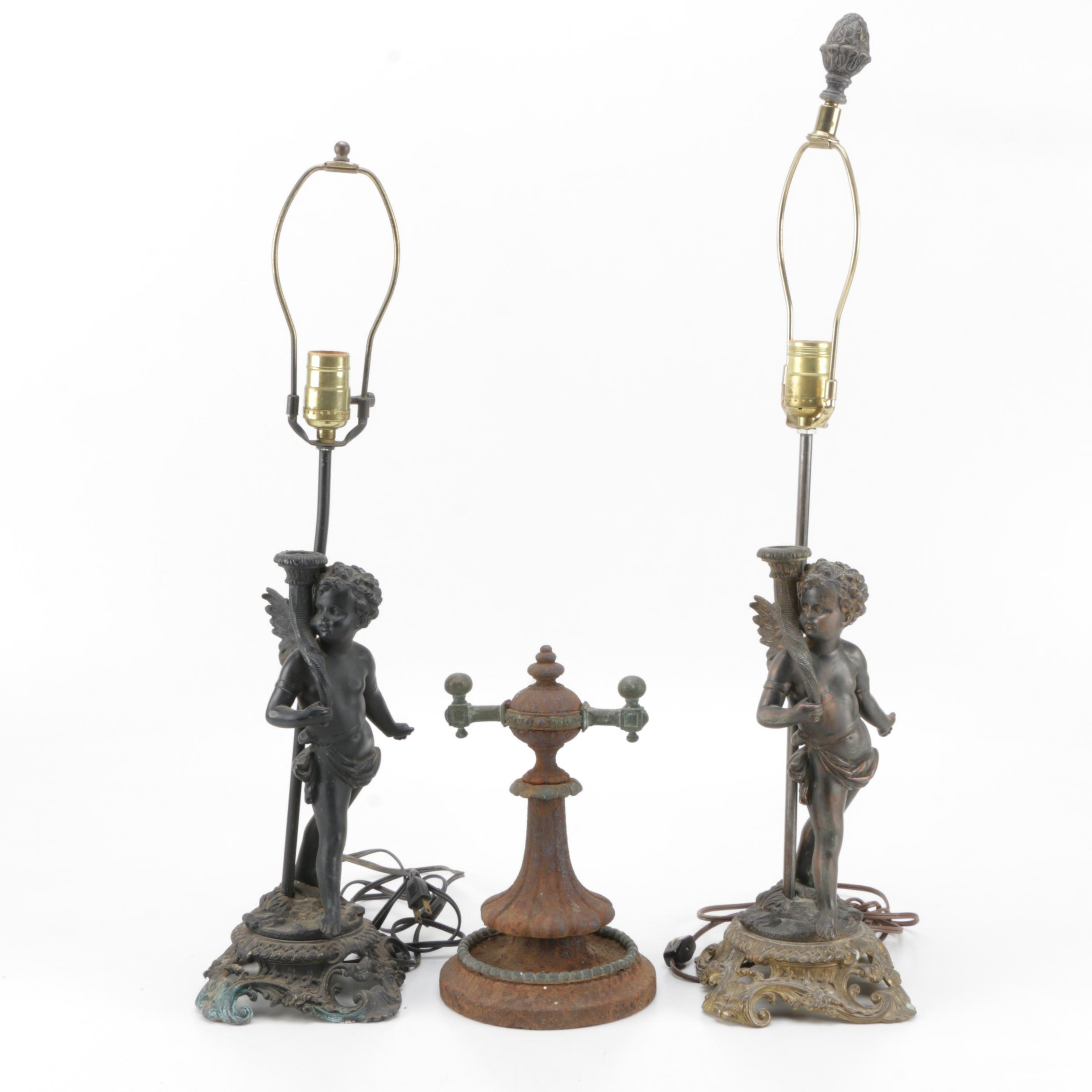 Metal Angel Table Lamps and Metal Statue
