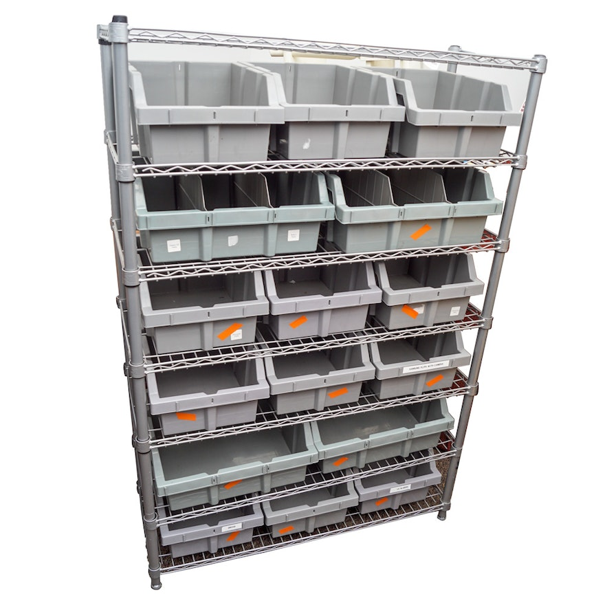 Wire Shelving Unit by Seville Classics and Organizer Bins : EBTH