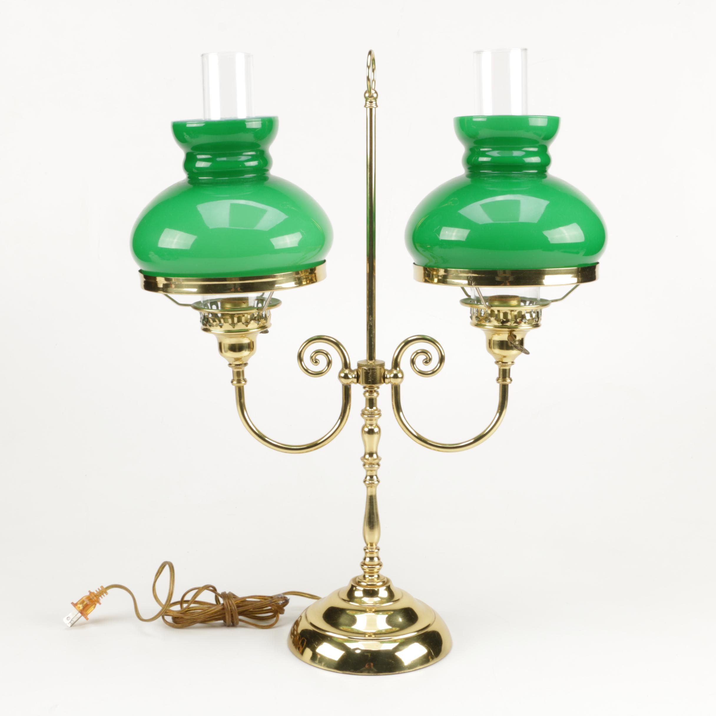 Double Brass Student Lamp with Glass Shades