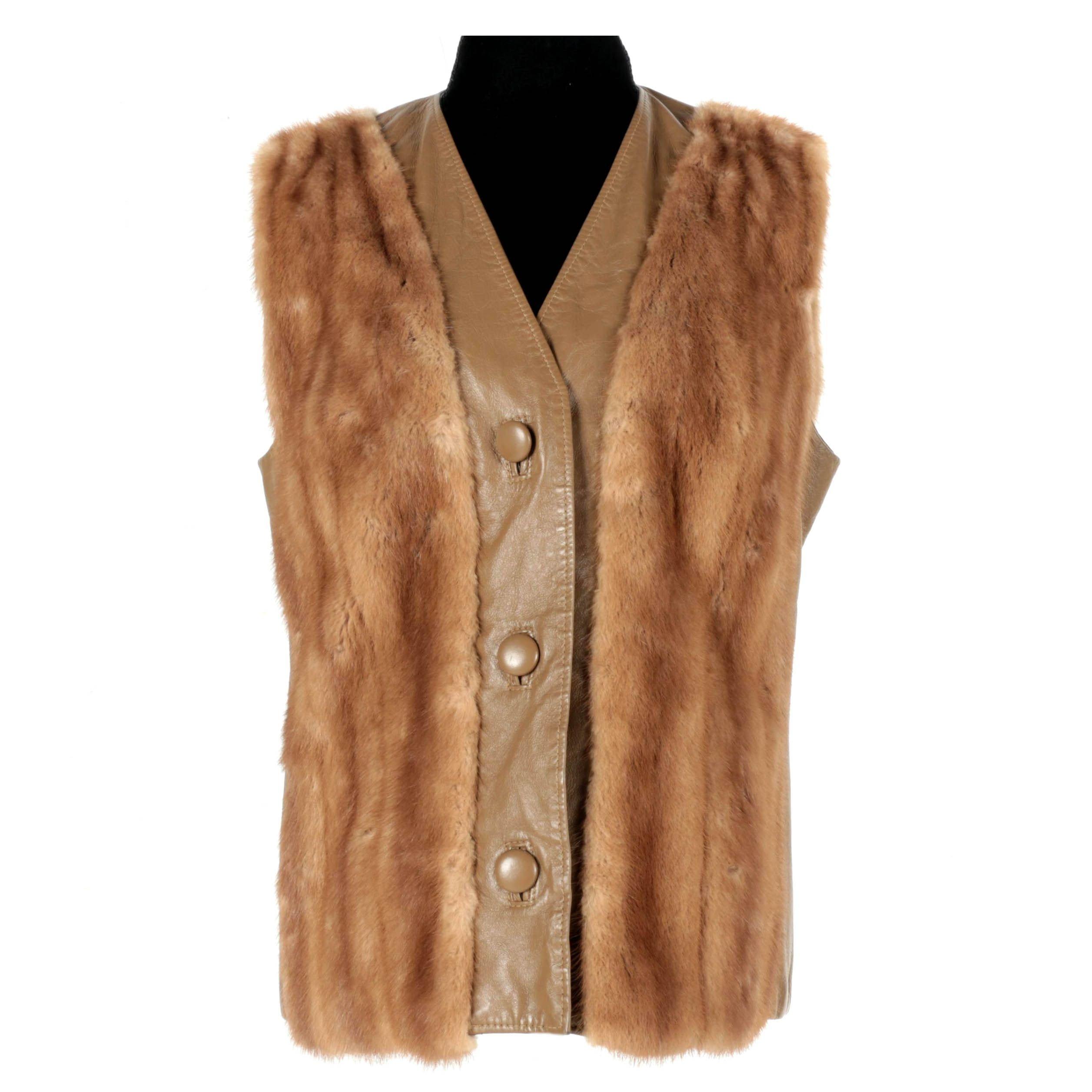 Vintage Koslows Mink Fur and Leather Vest