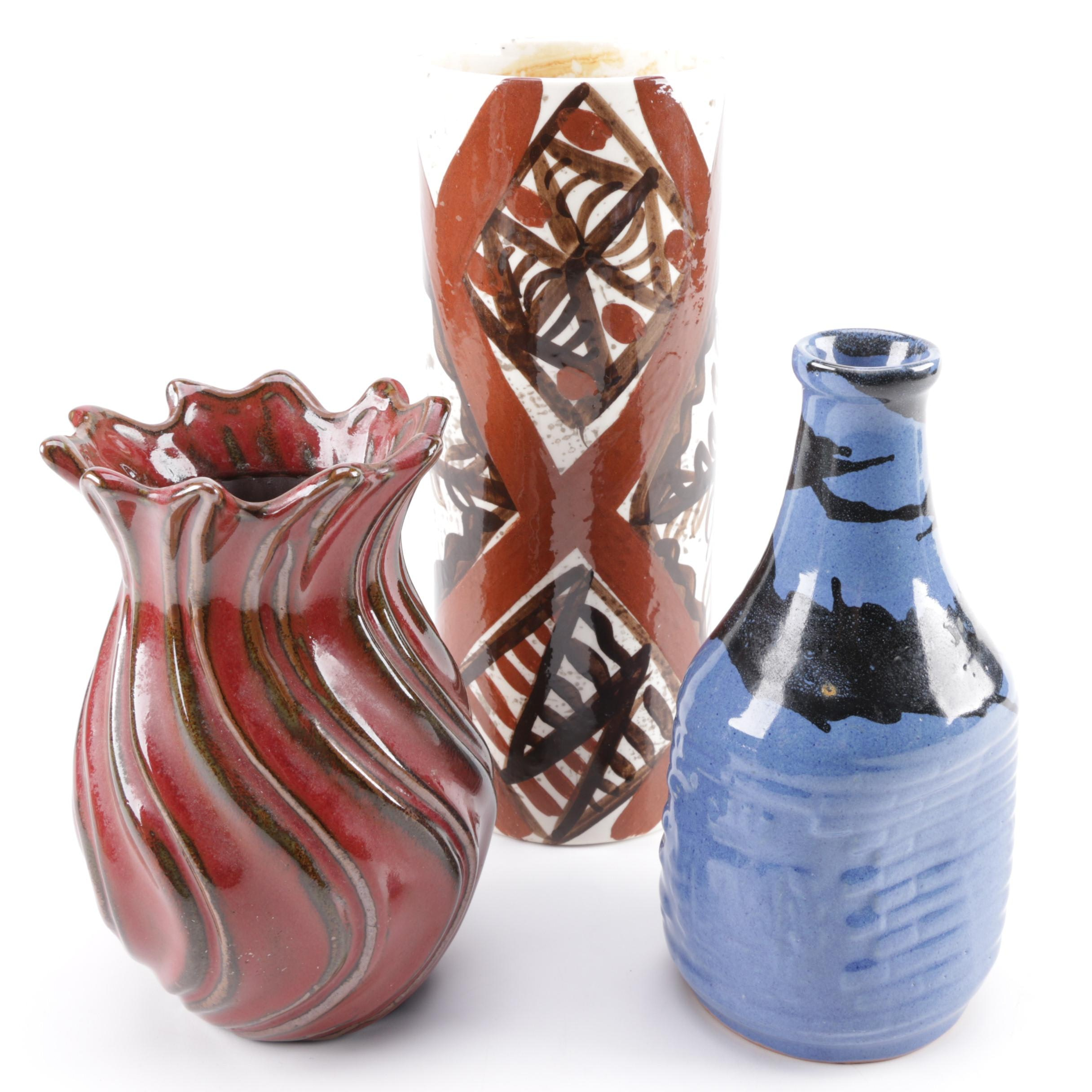 Collection of Hand Thrown Stoneware and Porcelain Vases