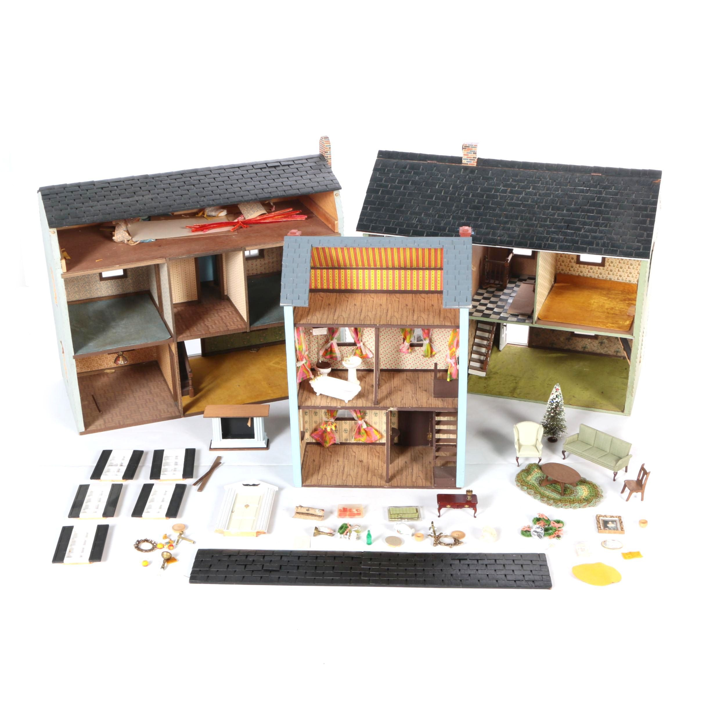 Wood Doll Houses with Furniture