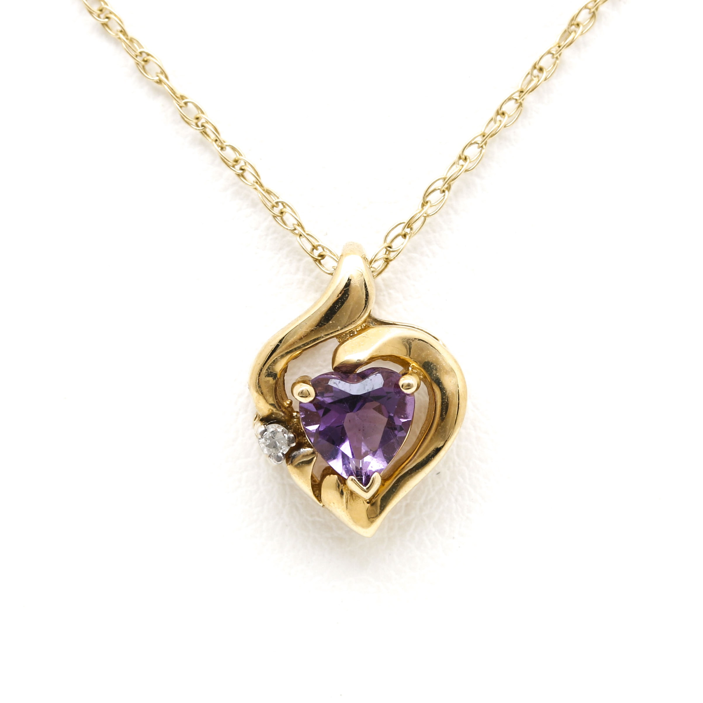 14K Yellow Gold Amethyst and Diamond Heart Pendant Necklace