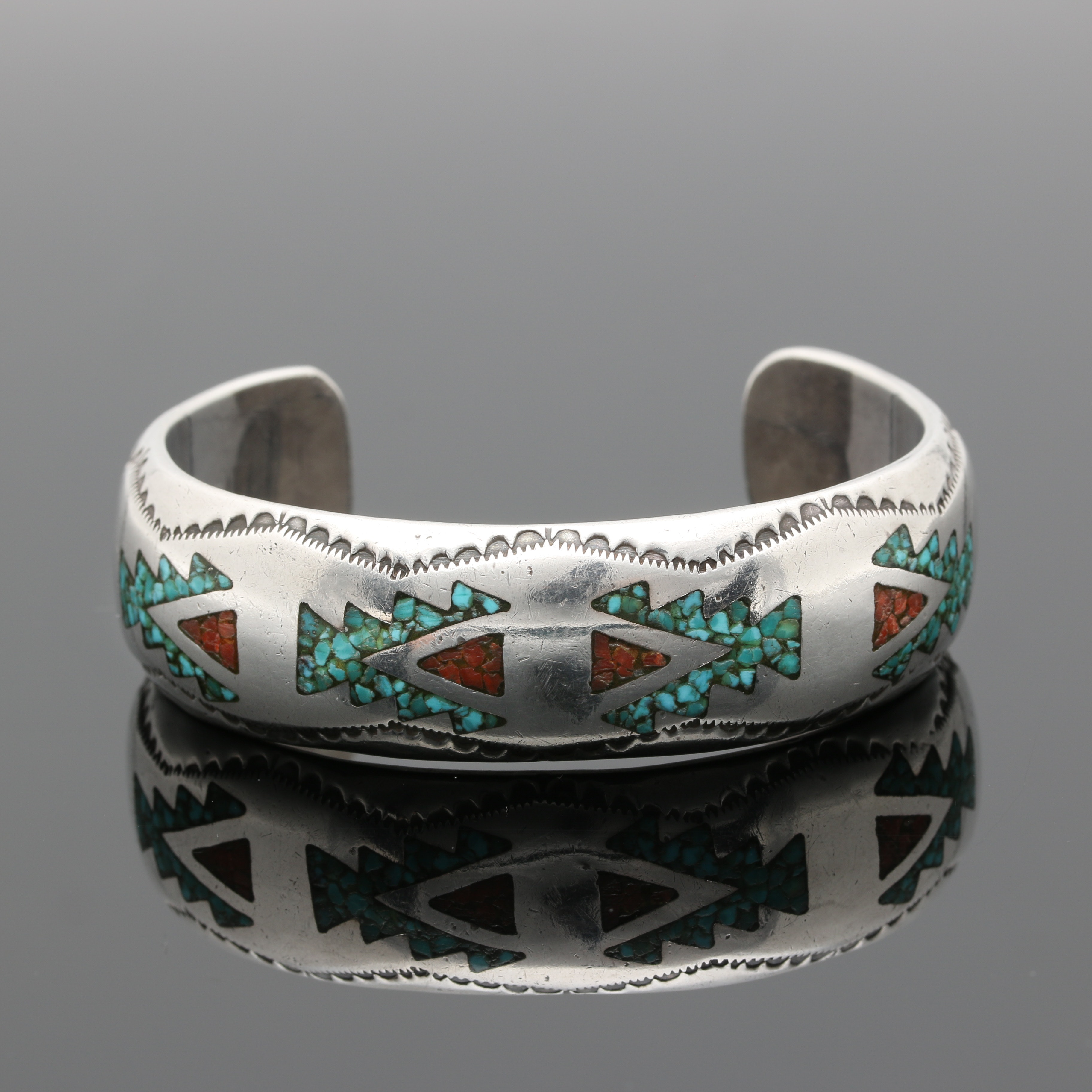 Joe Corbet Navajo Diné Sterling Silver Turquoise and Coral Inlay Cuff Bracelet