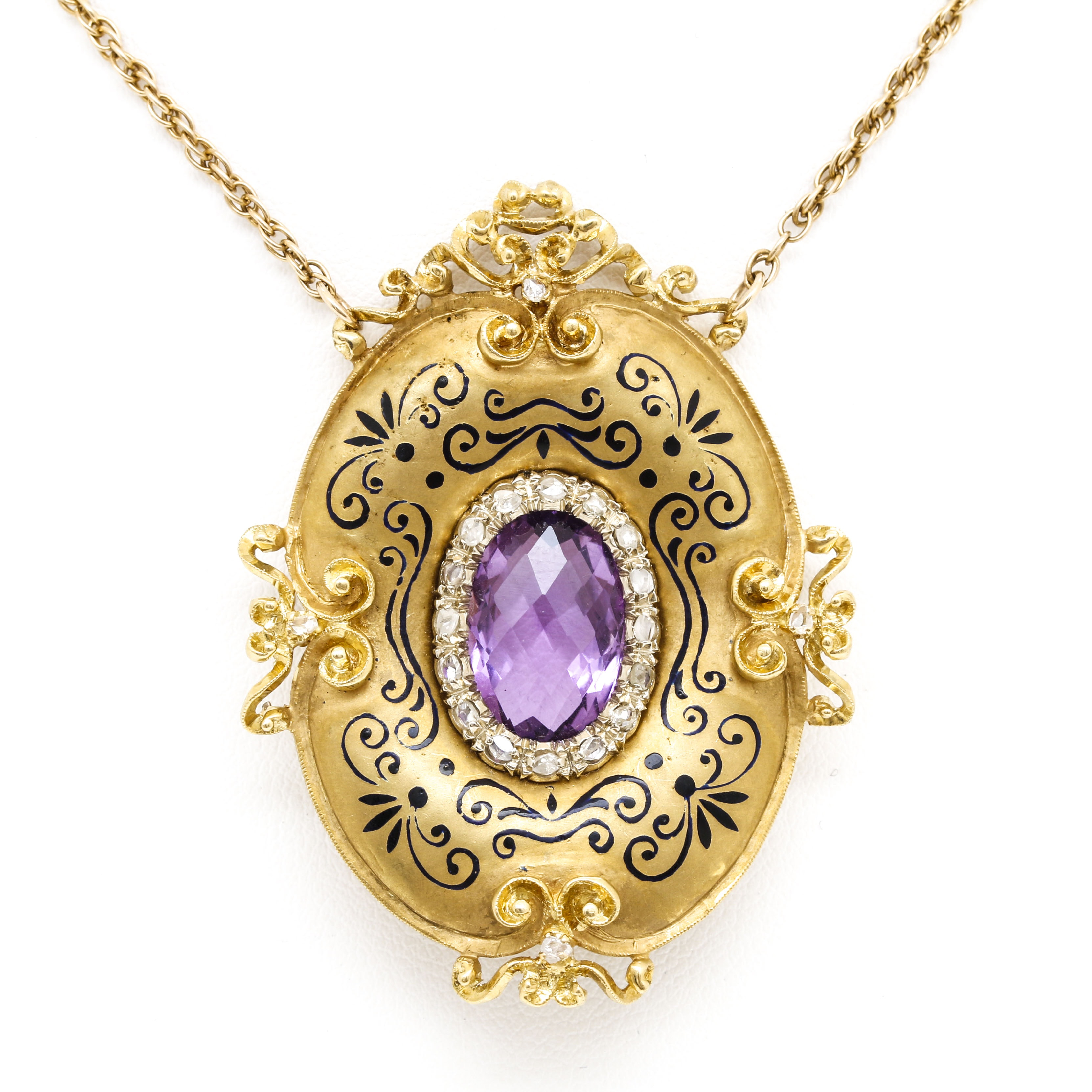 14K and 18K Yellow Gold 5.65 CT Amethyst and Diamond Pendant Necklace