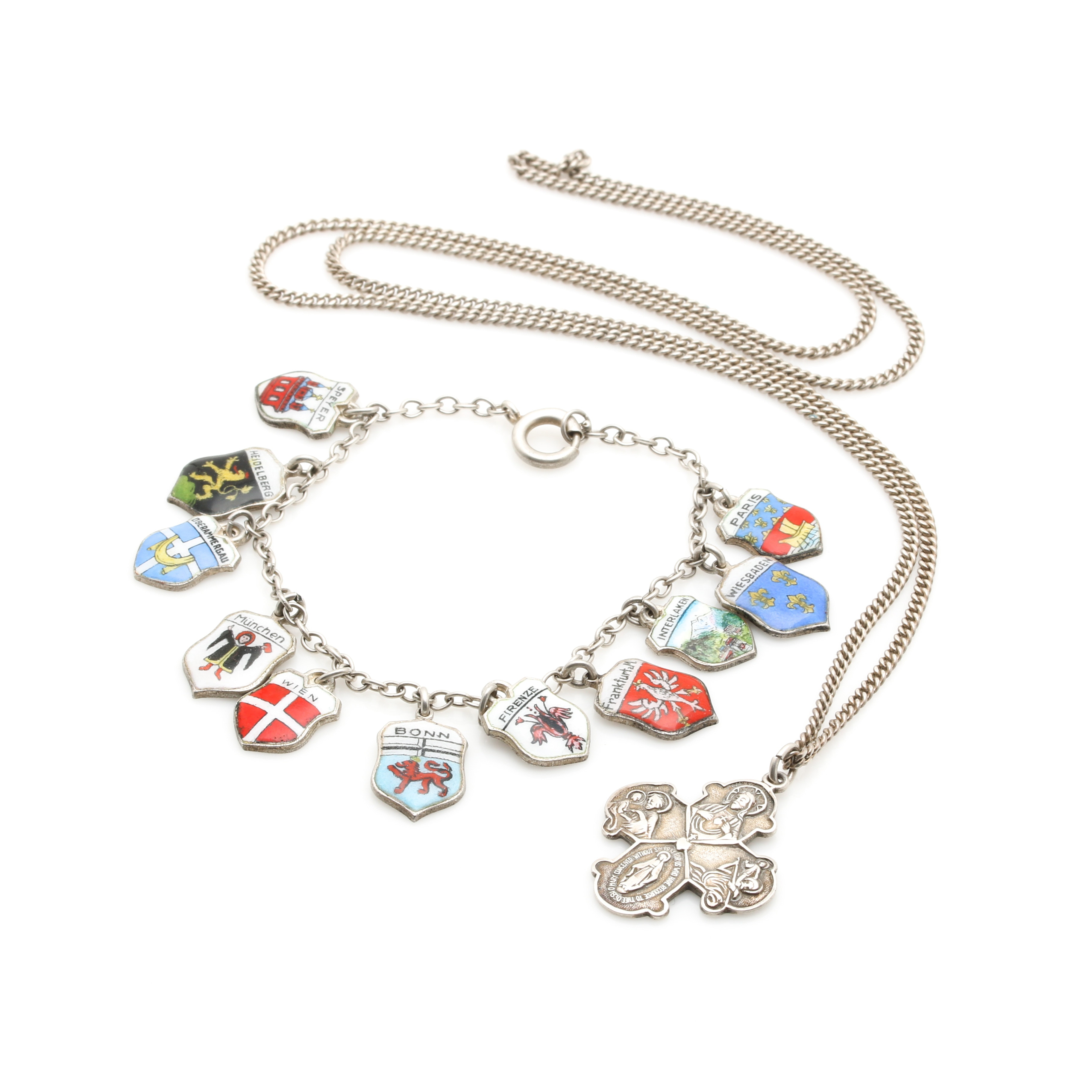 Sterling Silver Necklace and Charm Bracelet Including 800 Silver Charms