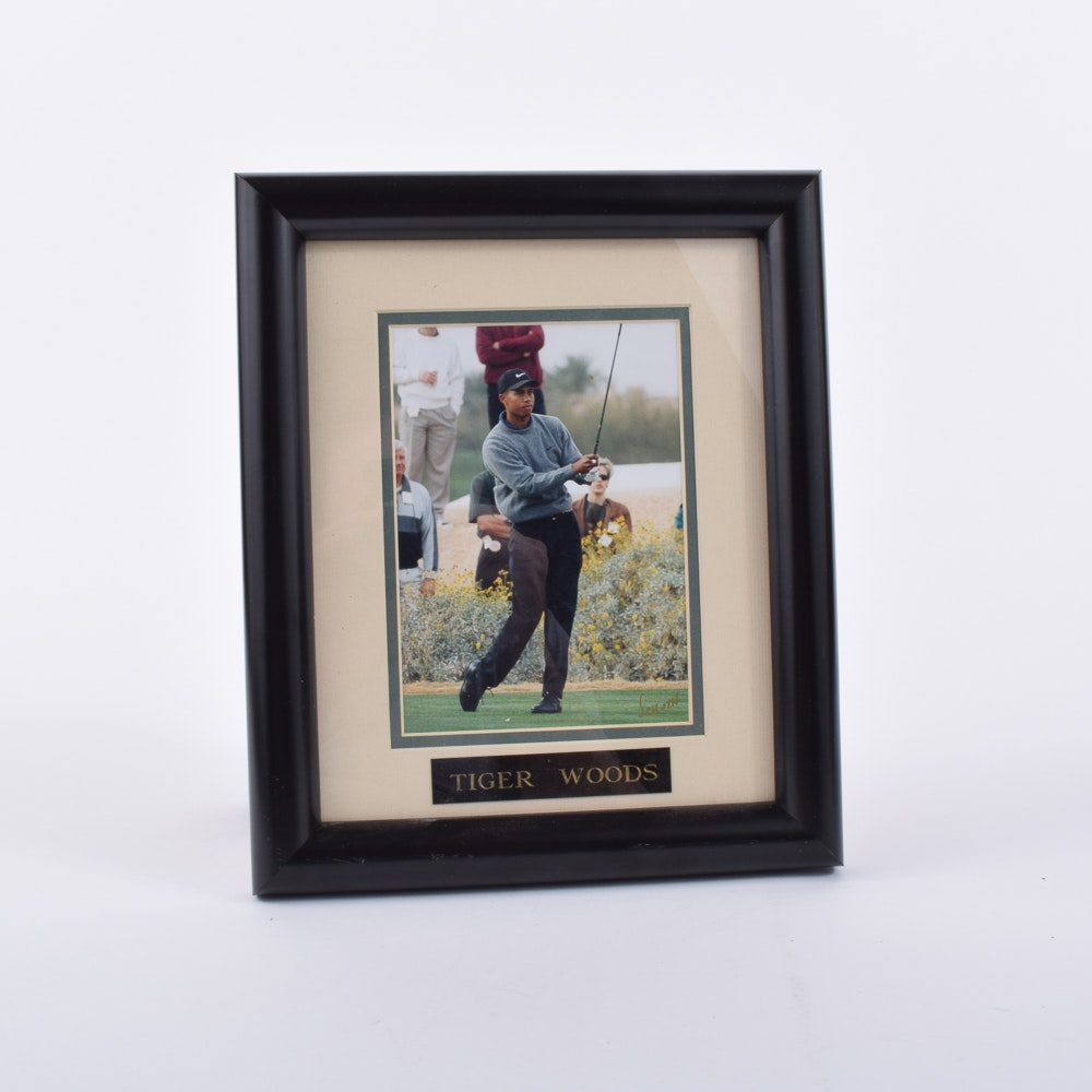 Original Schuth Autographed Photograph of Tiger Woods