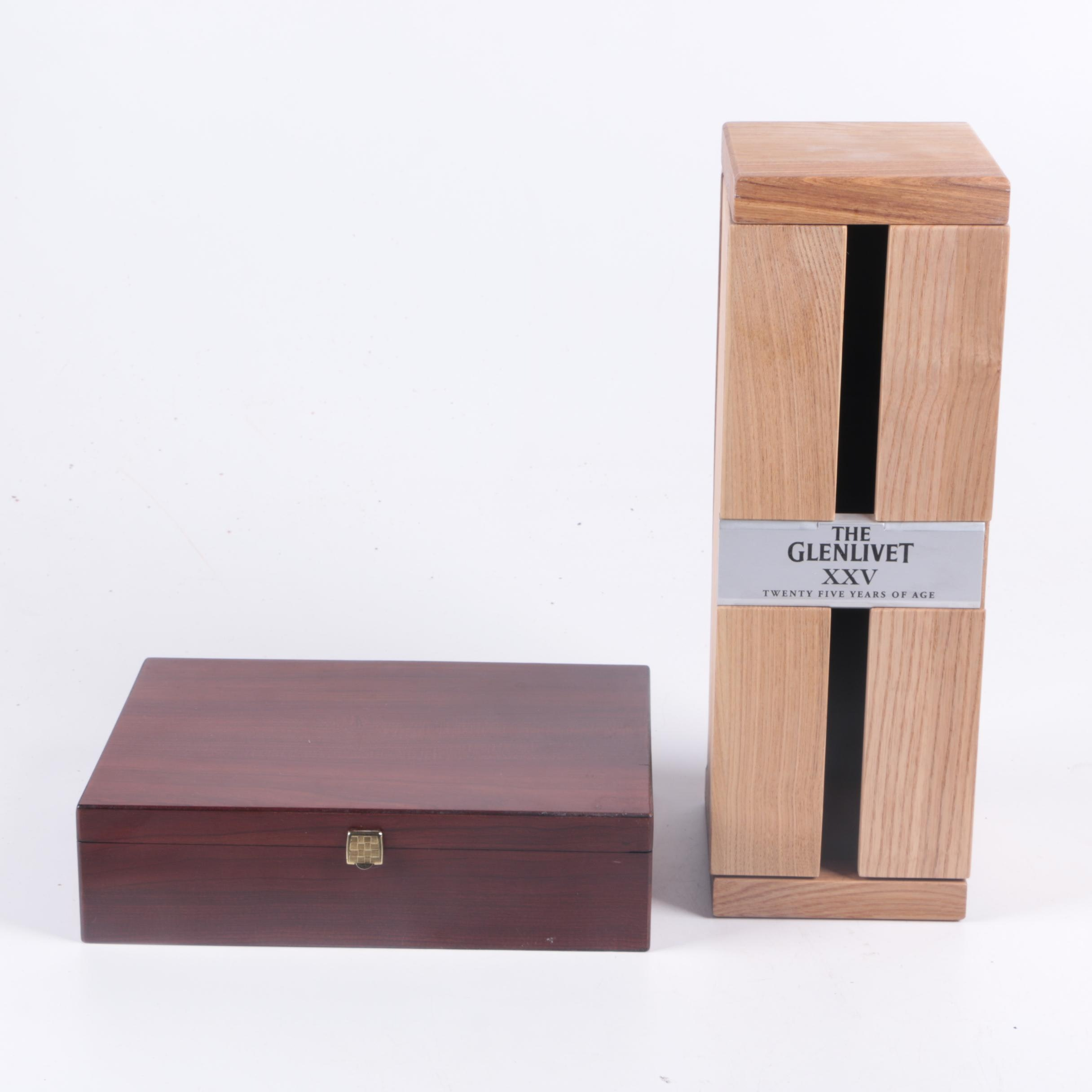 Signed The Glenlivet XXV Whiskey Wooden Box and Bentley's Tea Box