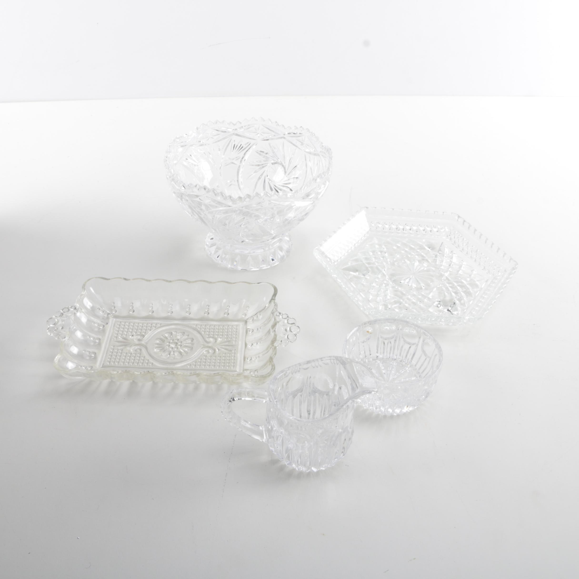 Collection of Pressed Glass and Crystal Tableware