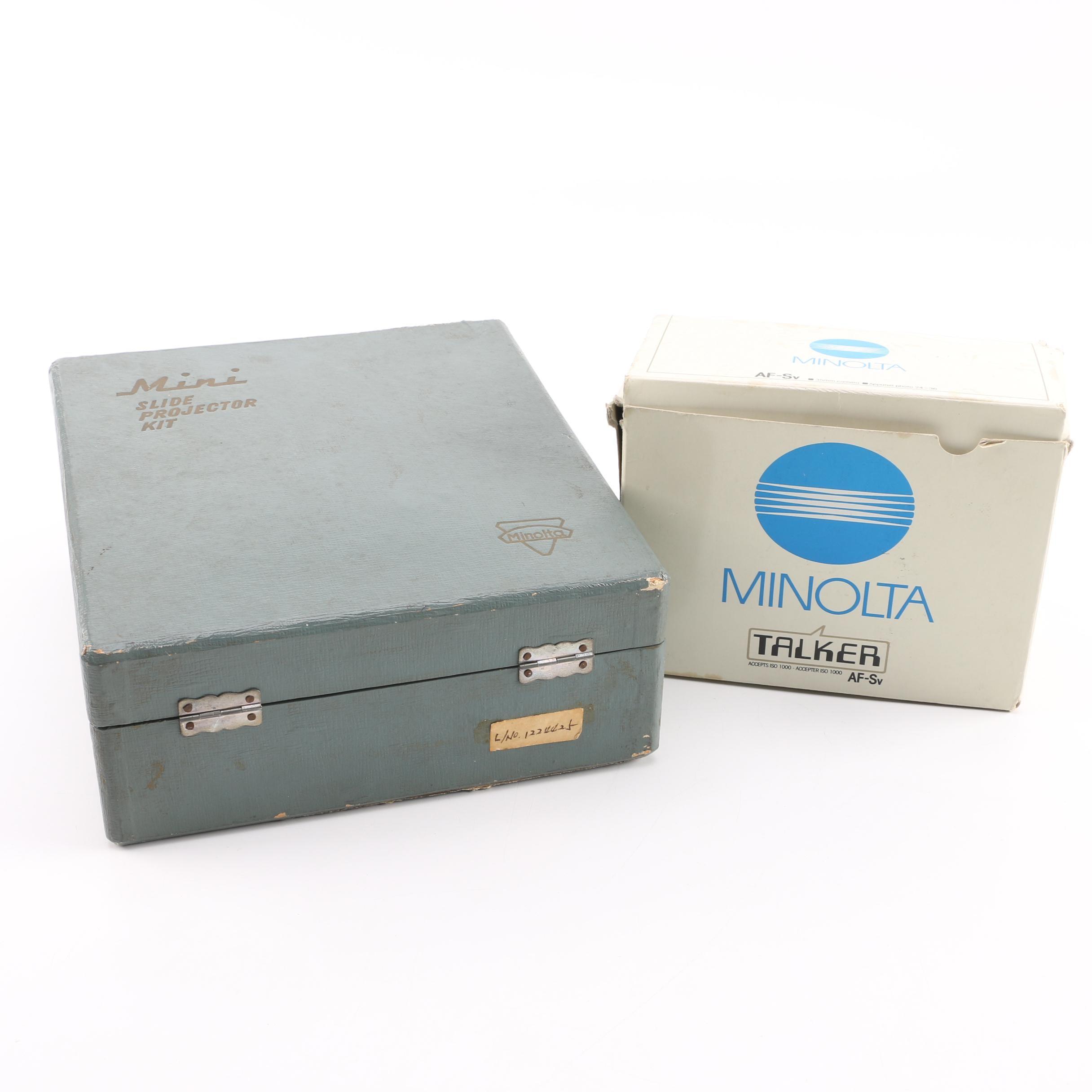 Mini Slide Projector Kit and Minolta Camera