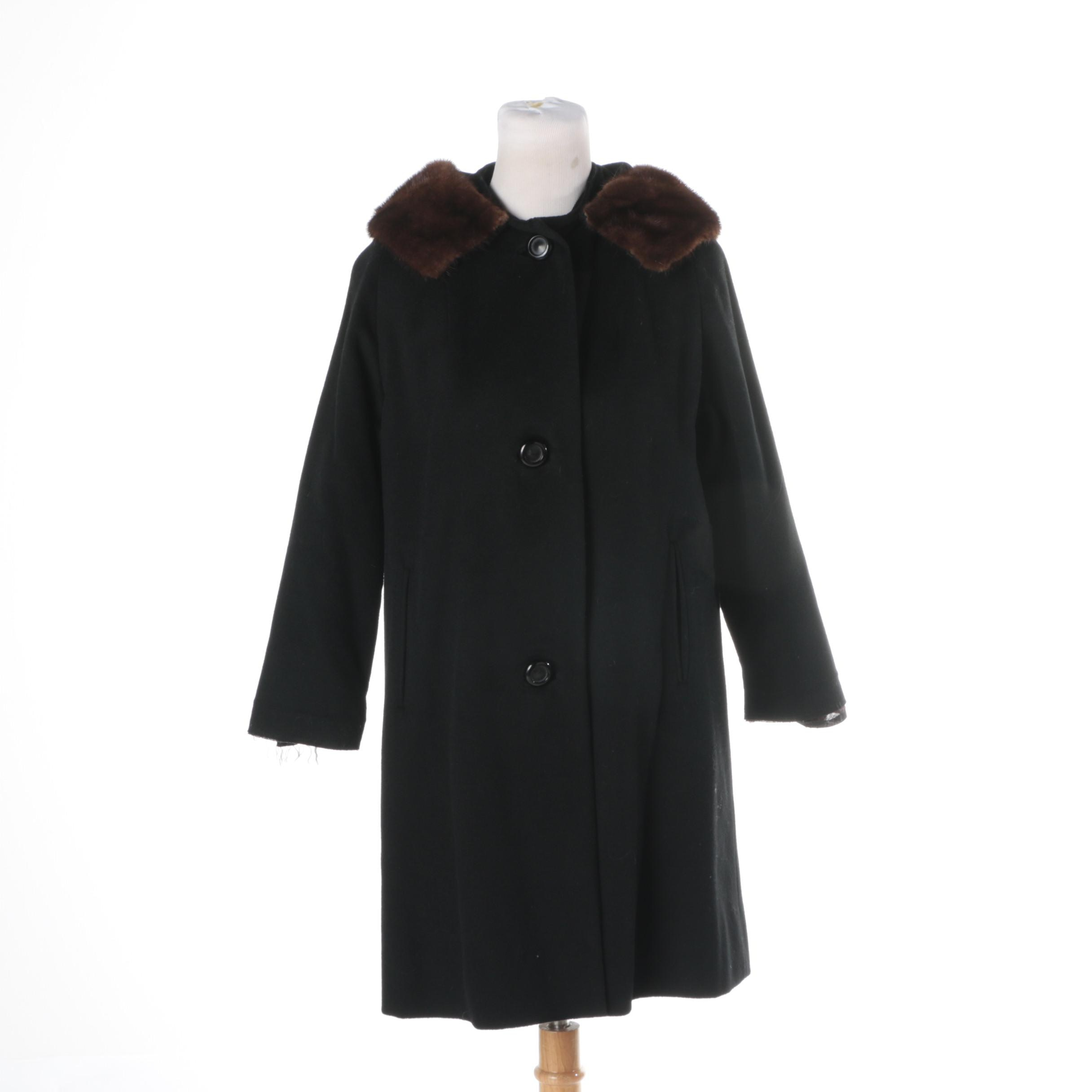 Women's Vintage Cosmopolitan Black Wool Coat with Mink Collar