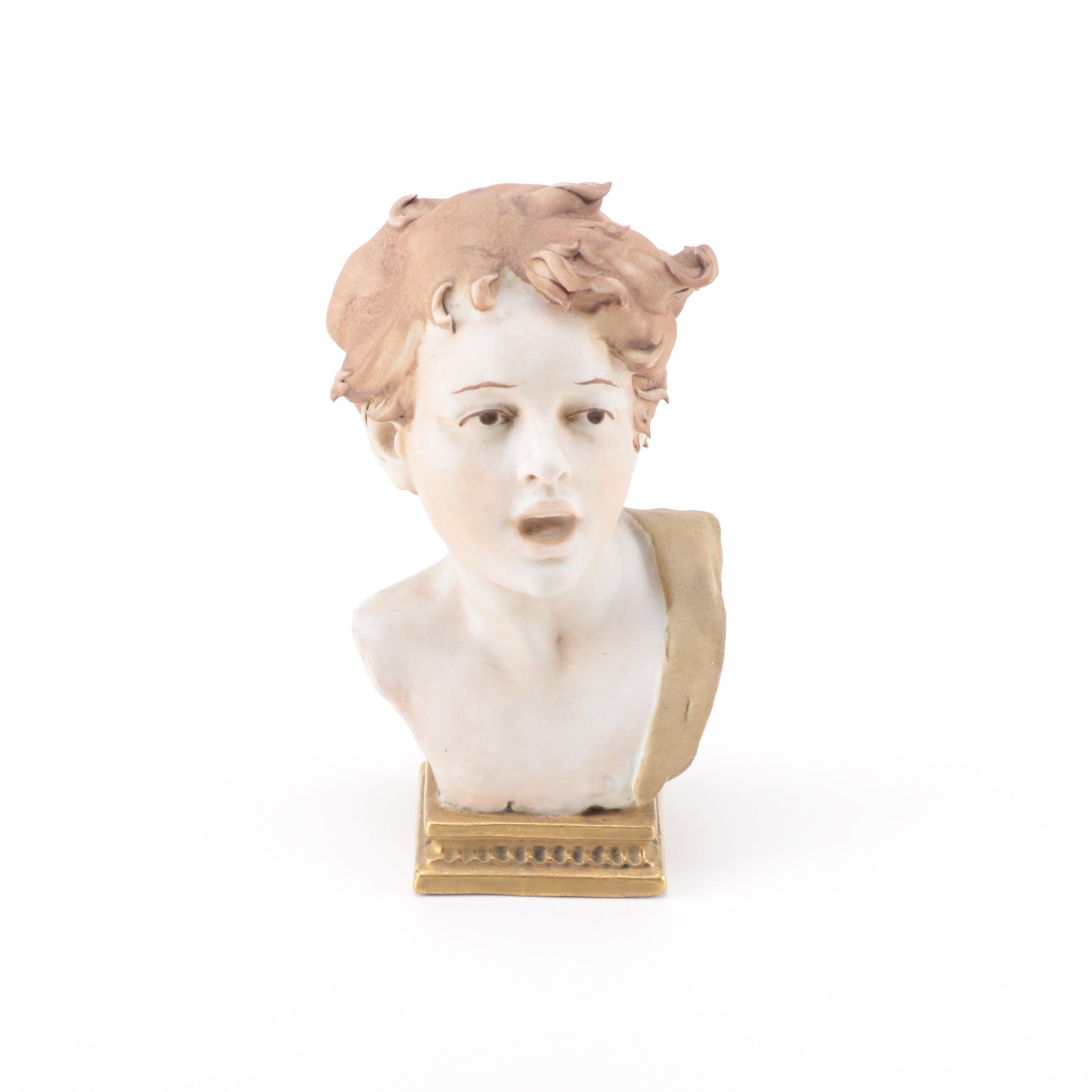 Antique Luigi Benacchio Hand Painted Italian Bisque Bust of a Boy
