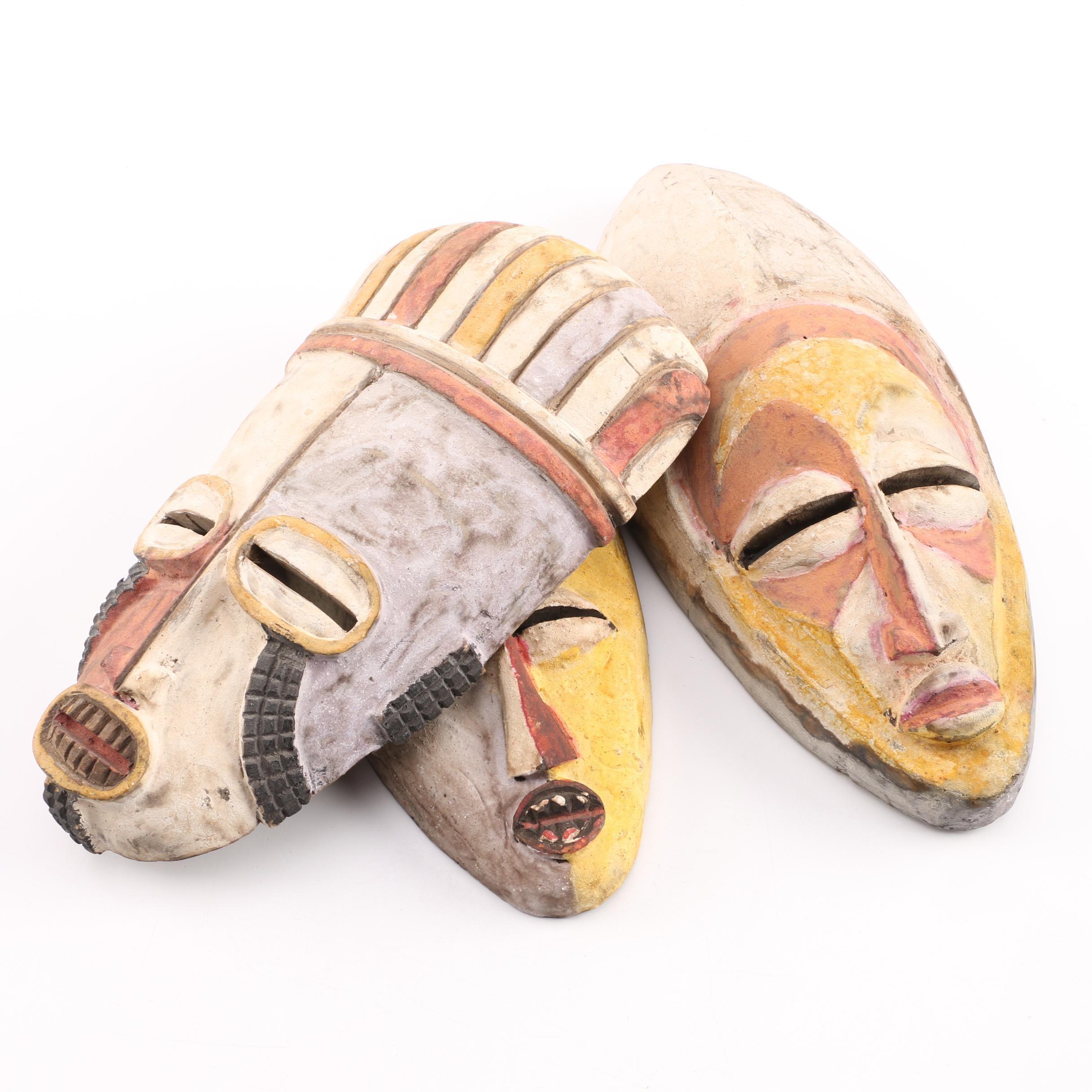Three Carved Wood Masks