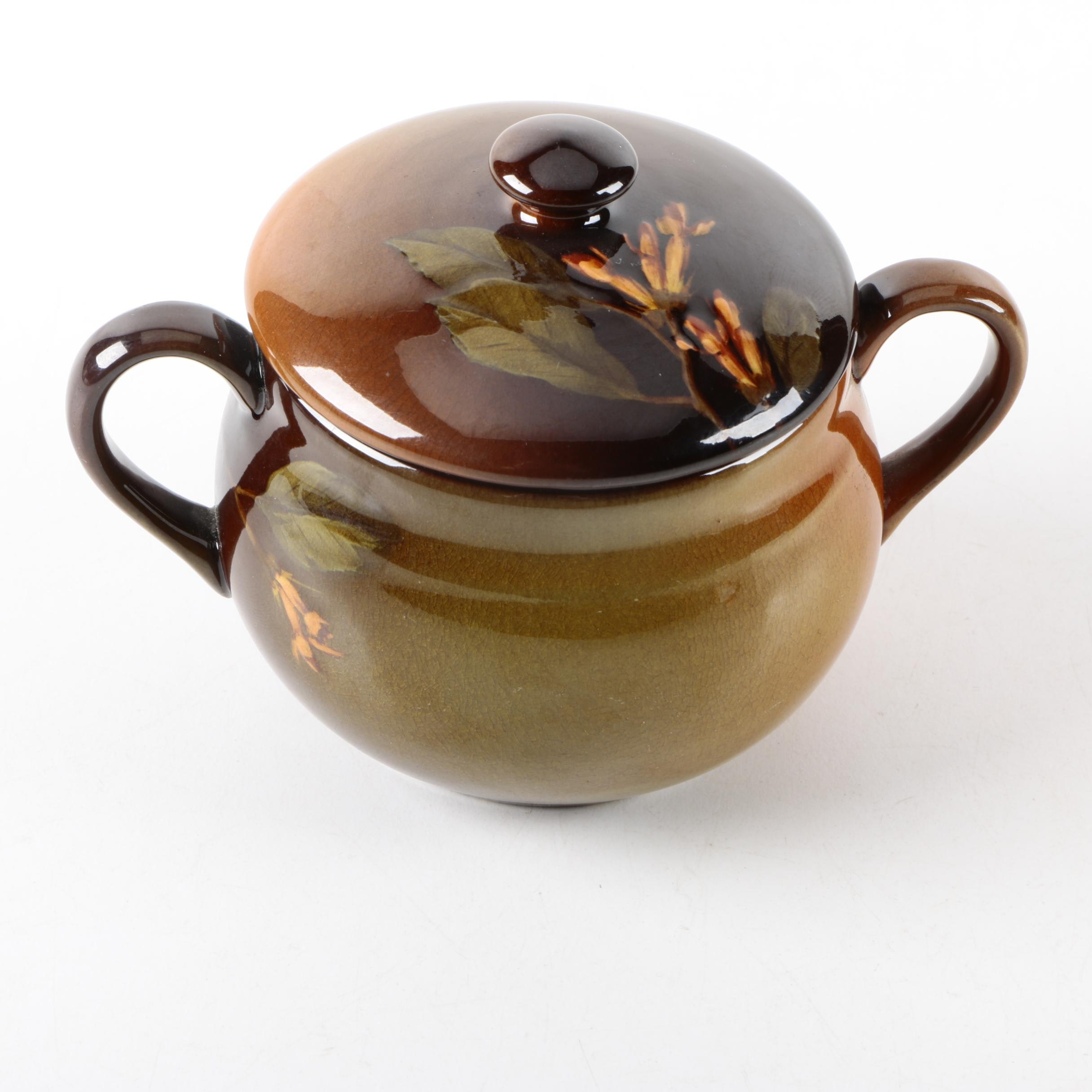 1899 Rookwood Pottery Signed Sugar Bowl with Lid by Felton