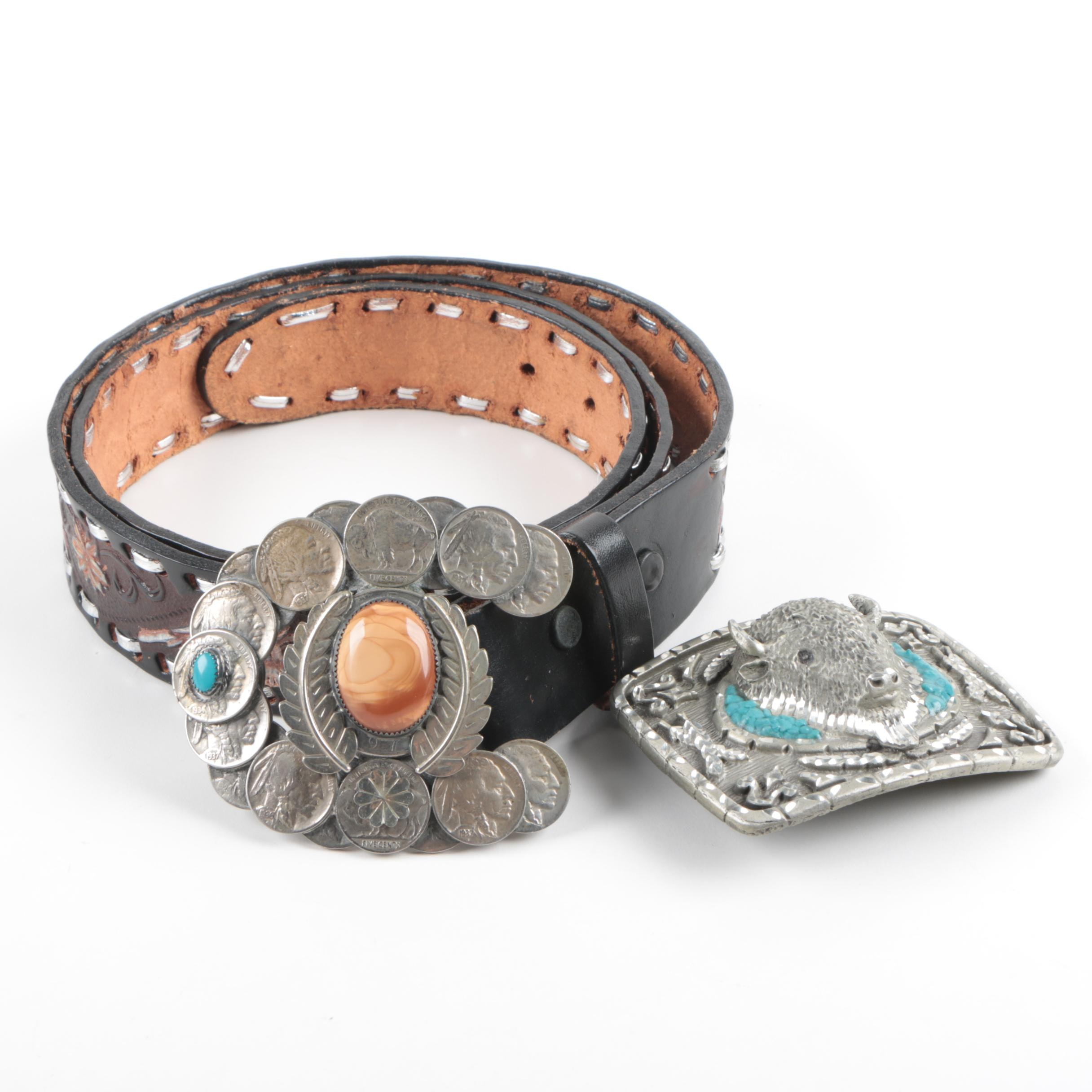 1930s Buffalo Nickel and Dyed Agate Belt Buckle and Leather Belt