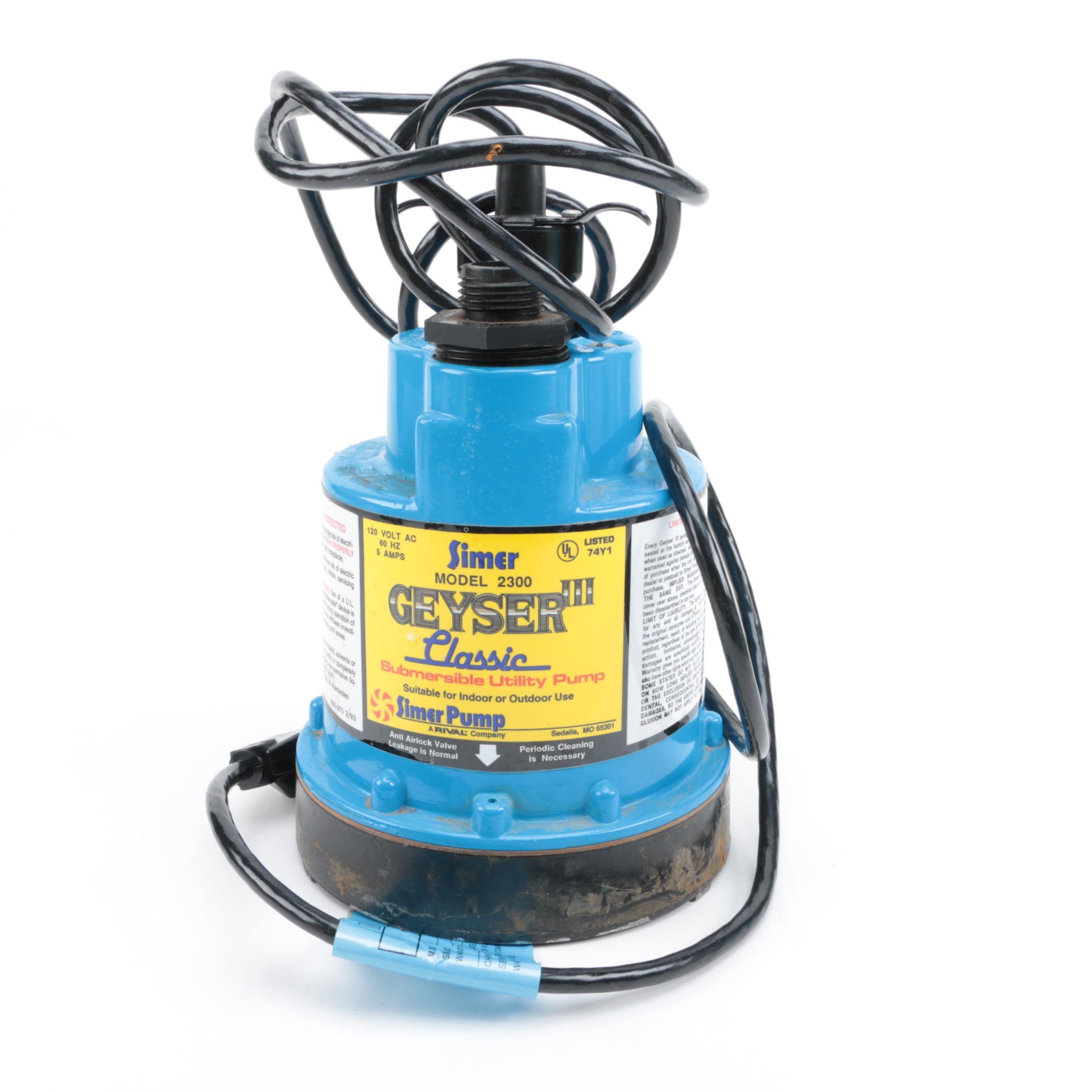 "Simer ""Geyser III"" Model 2300 Submersible Utility Pump"