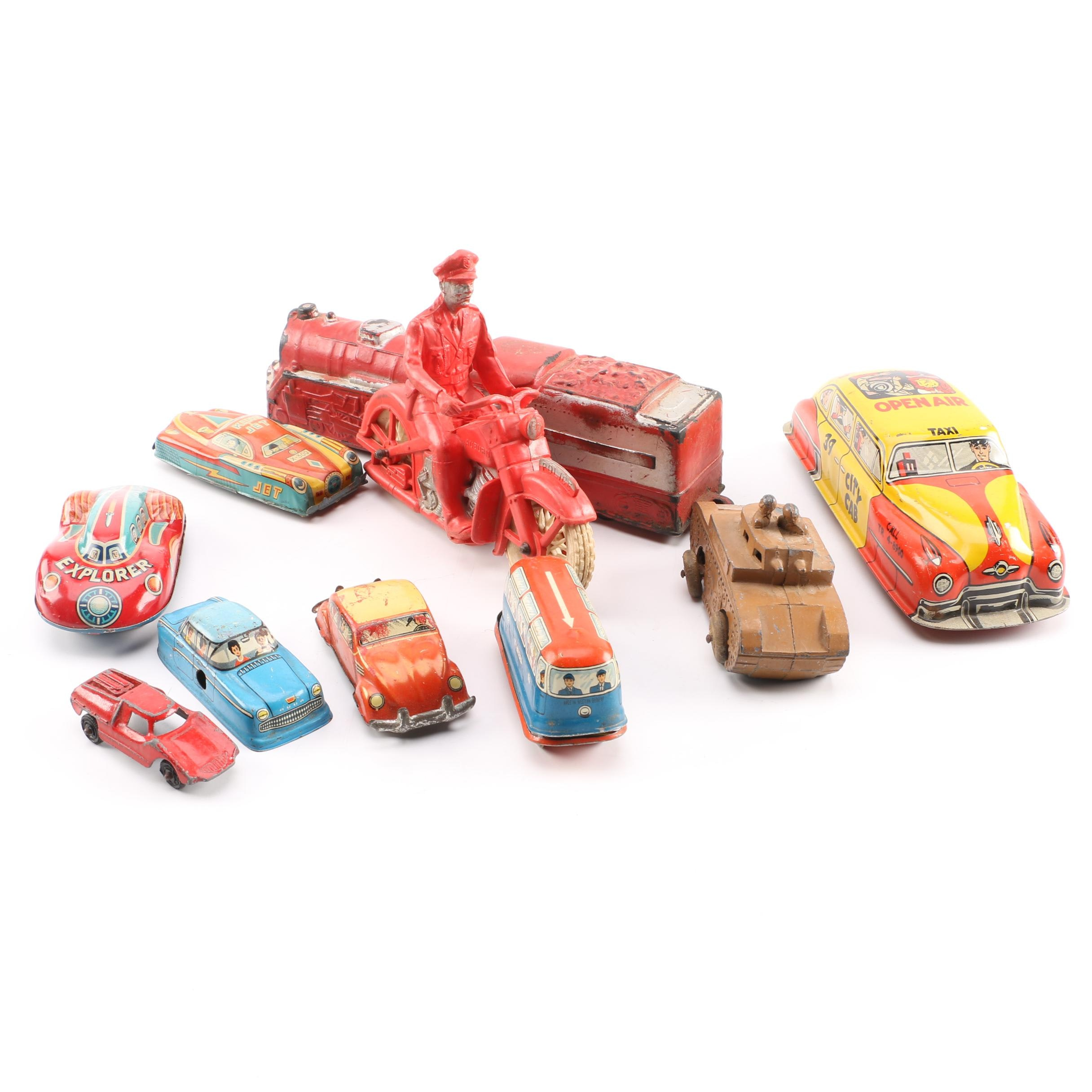 Vintage Vehicles Including Tin Friction Cars