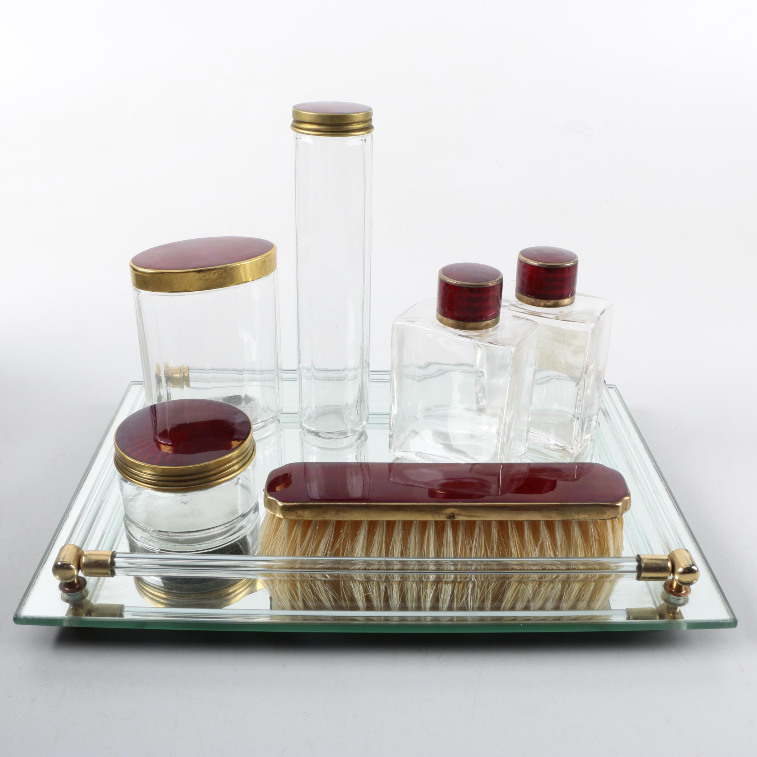Art Deco Red Guilloche Enamel Glass Vanity Set on Mirrored Tray