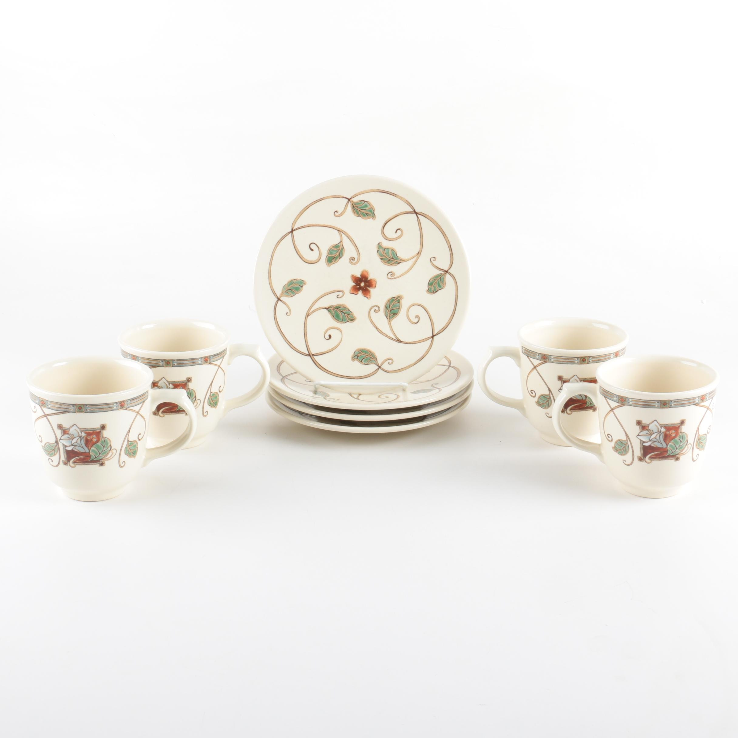 "Pfaltzgraff ""Mission Flower"" Cups and Saucers"