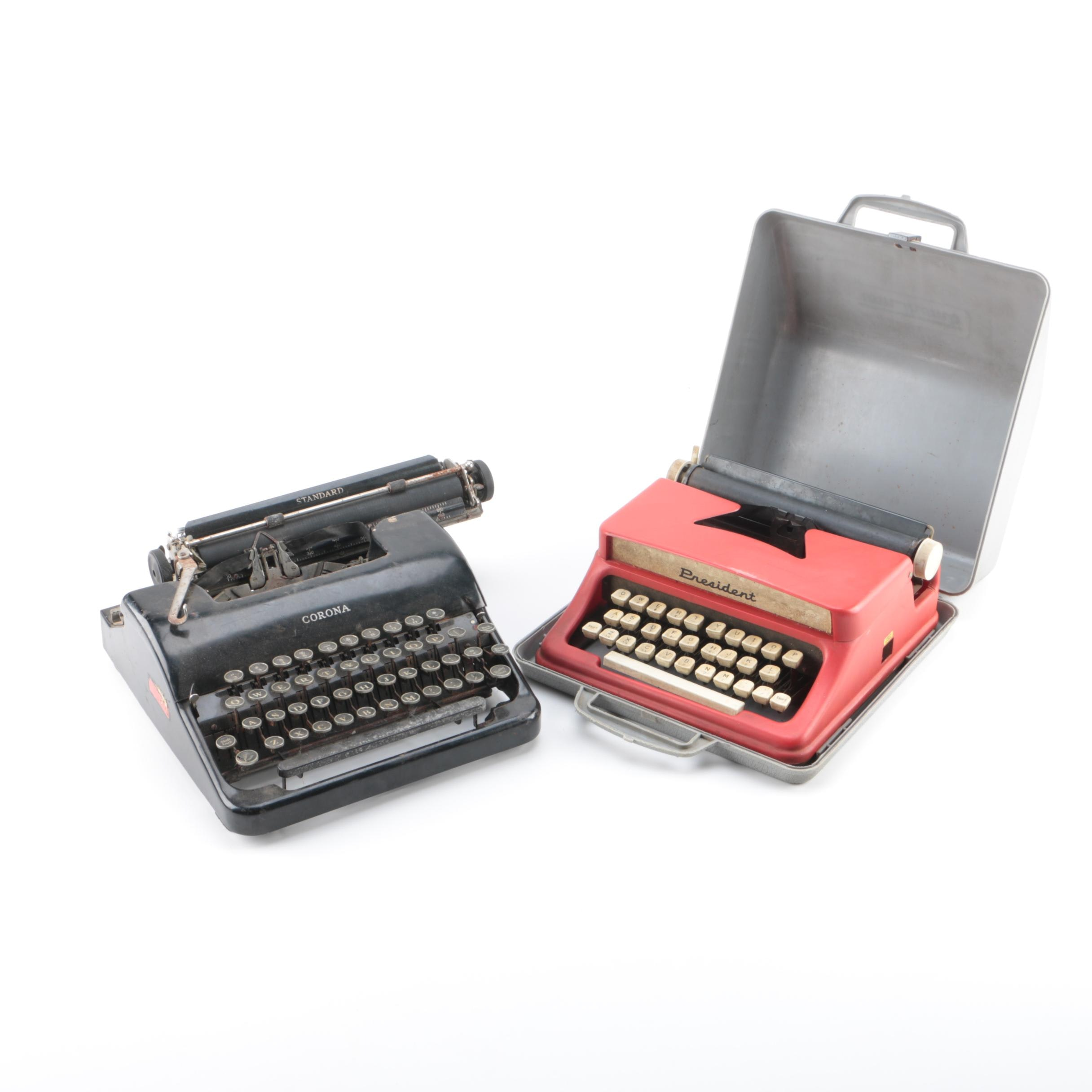 Vintage Corona Typewriter with Tom Thumb Toy Typewriter