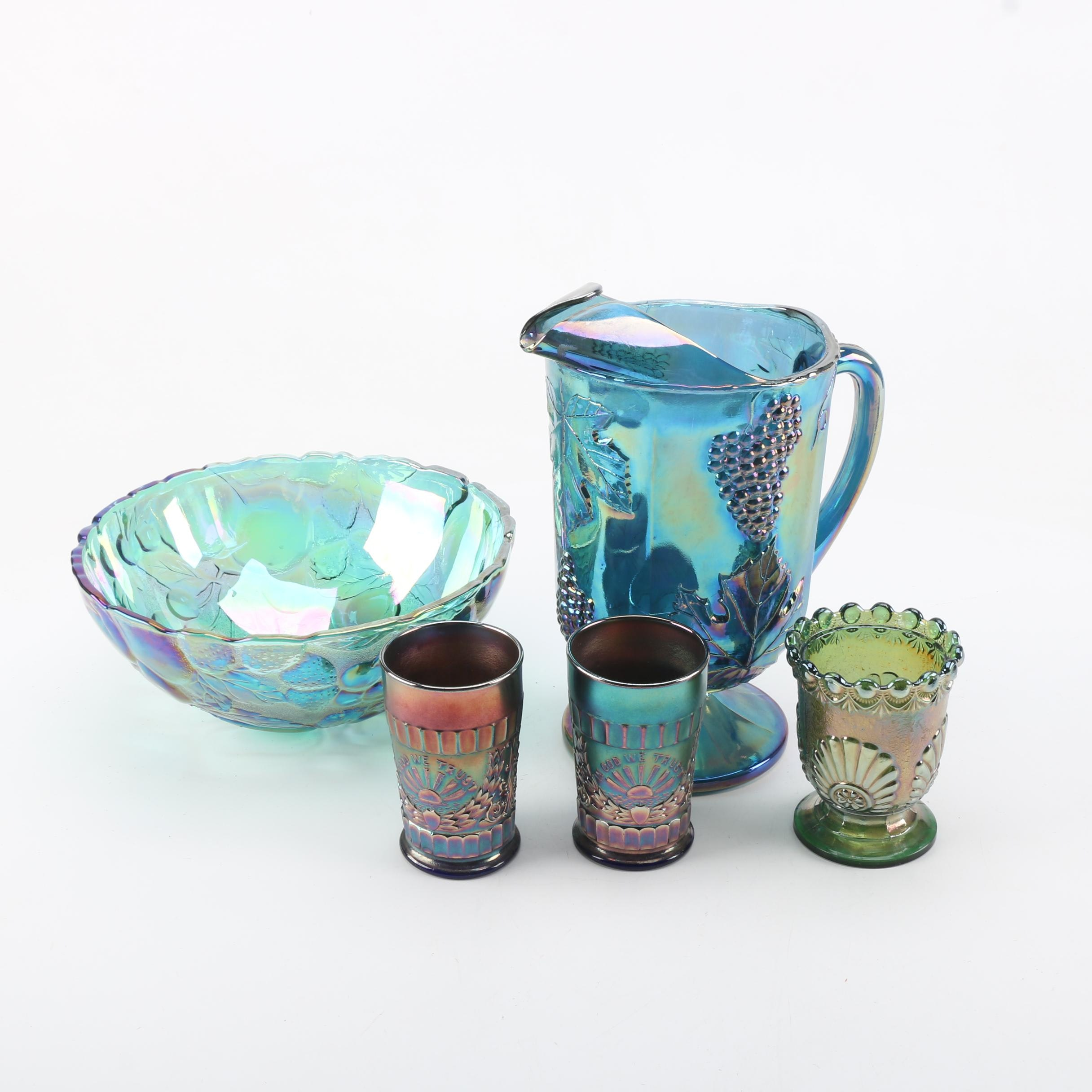 Carnival Glass Pitcher with Grapevine Relief and Other Carnival Glass Tableware