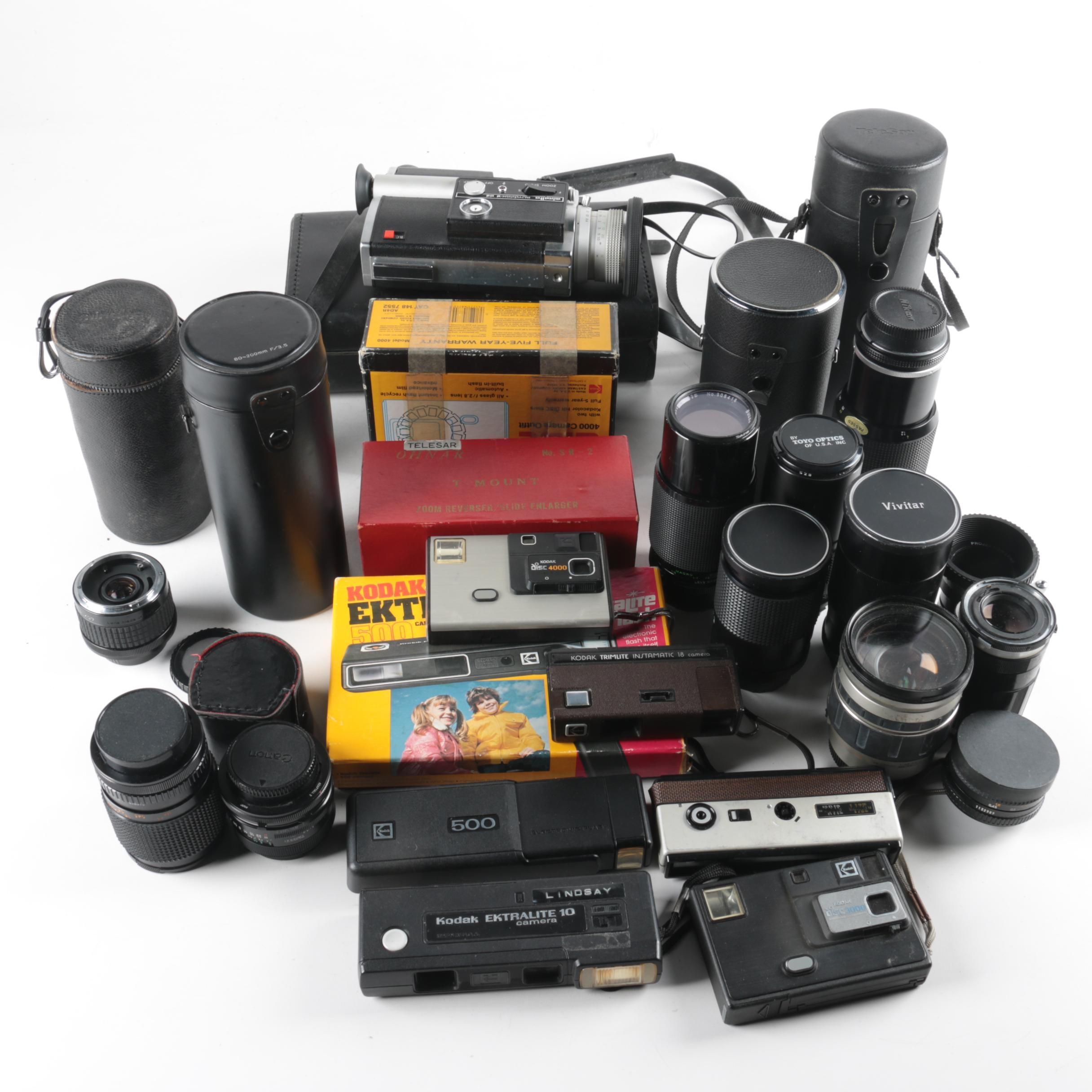 Vintage Cameras with Accessories