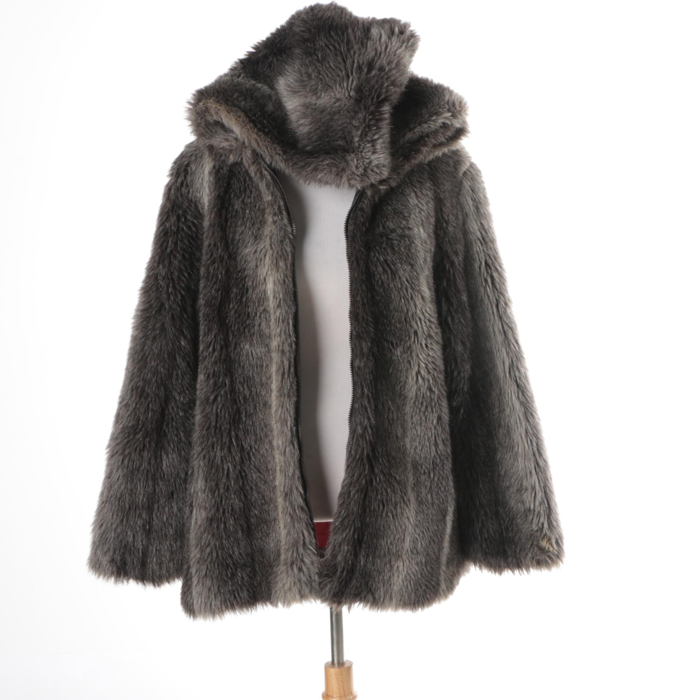 Women's Vintage Sears Fashions Faux Fur Coat