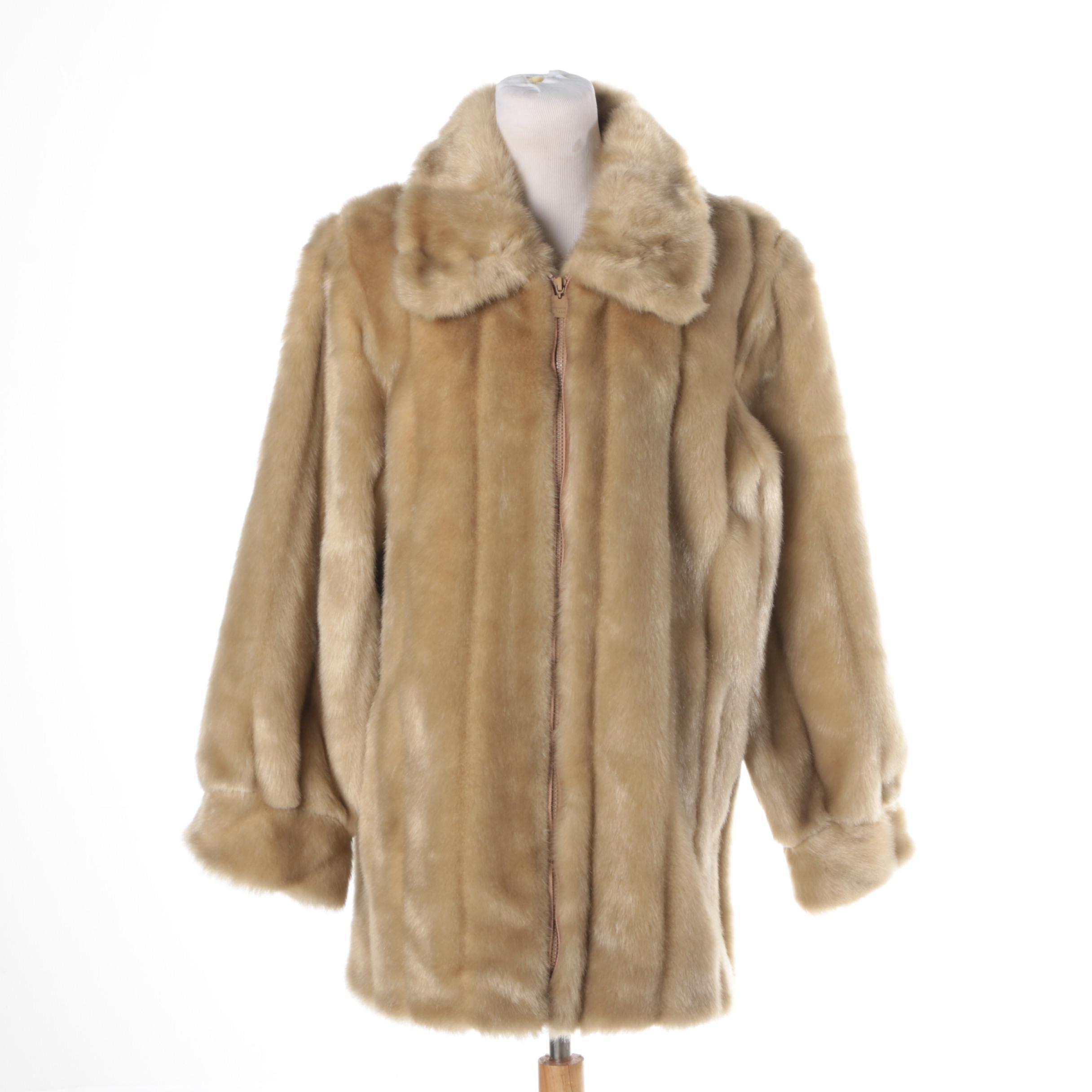 Women's Faux Mink Fur Coat