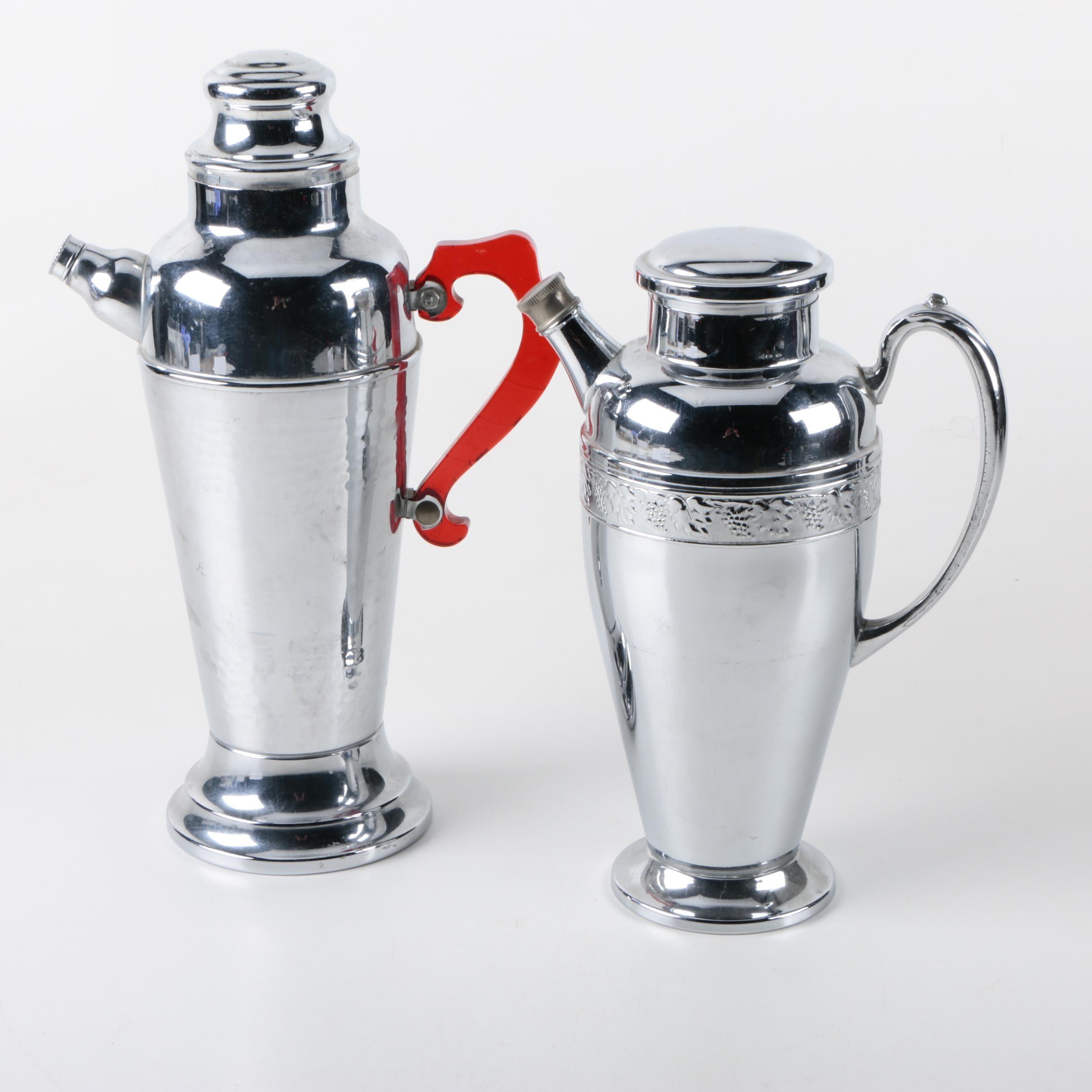 Art Deco Chrome Cocktail Shakers