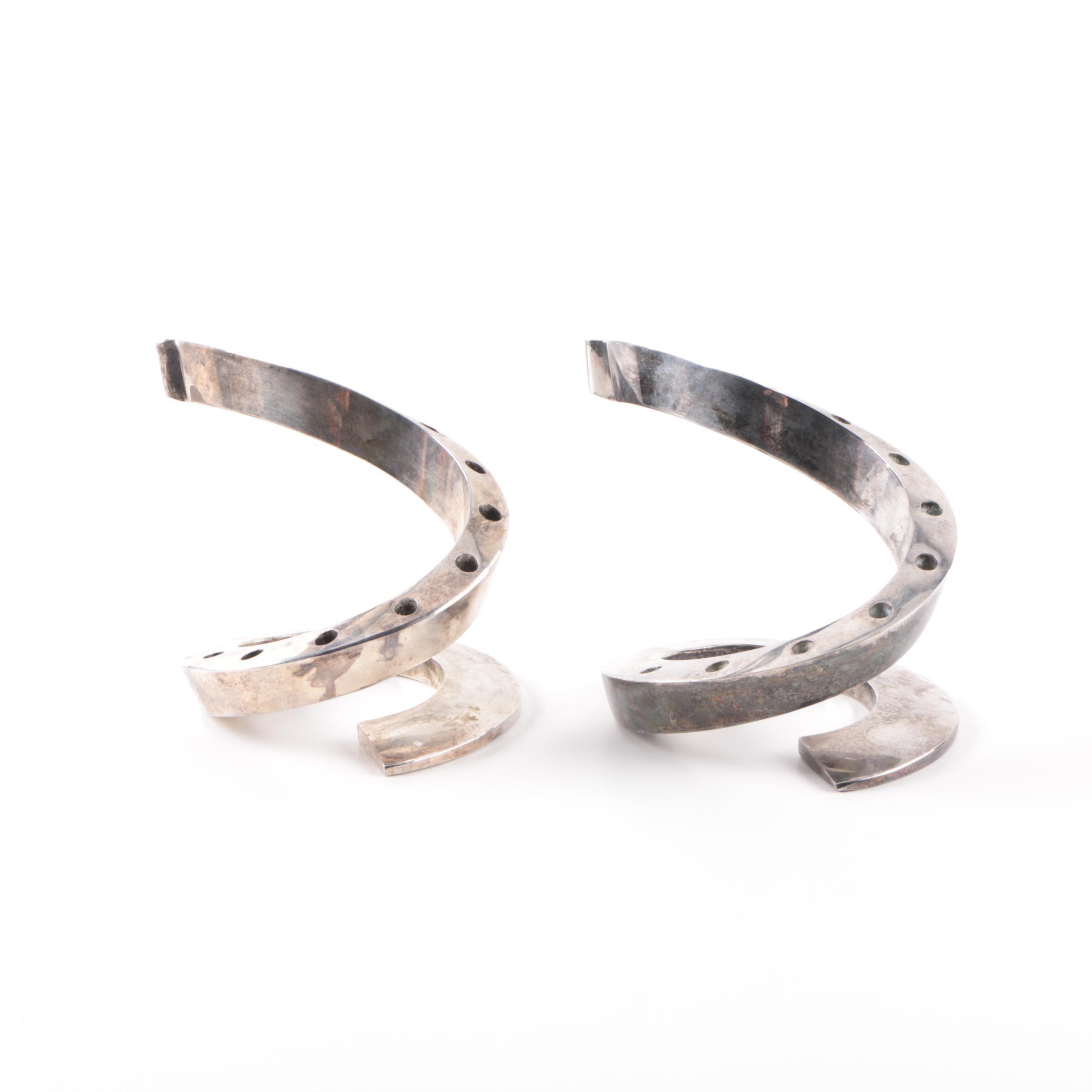 Dansk Mid Century Modern Bertil Vallien Spiral Silver Plate Candleholders