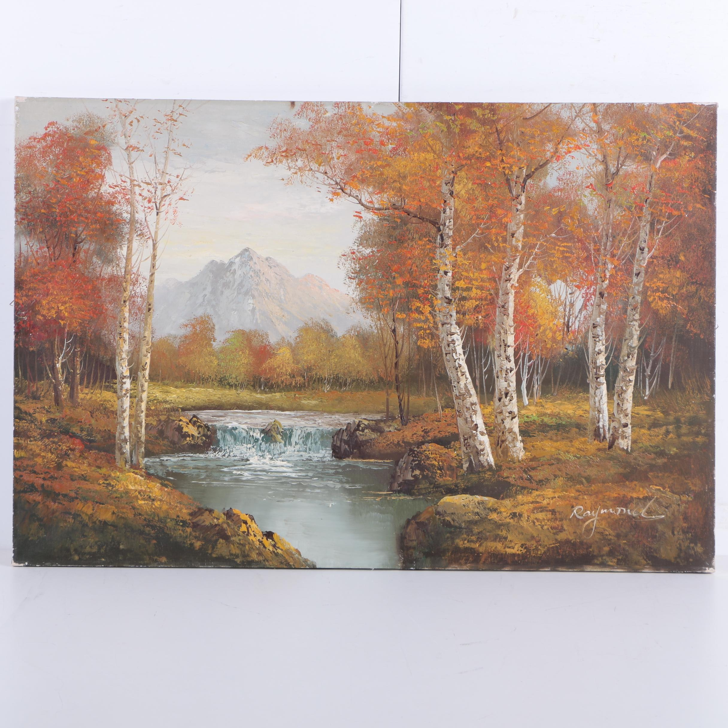 Raymond Oil Painting on Canvas of Autumn Landscape with Birches