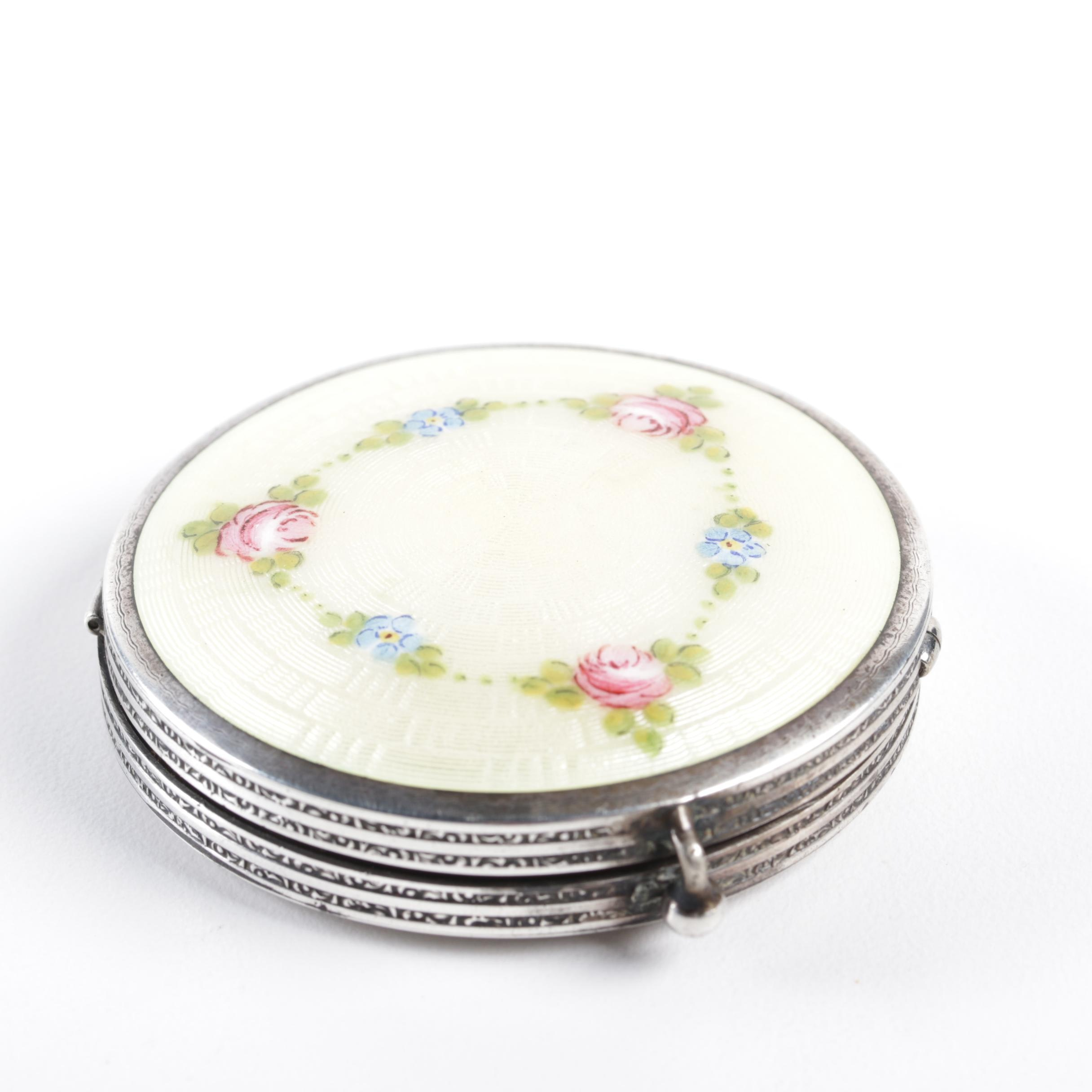 Vintage Sterling Silver and Enamel Guilloché Mirror and Powder Compact