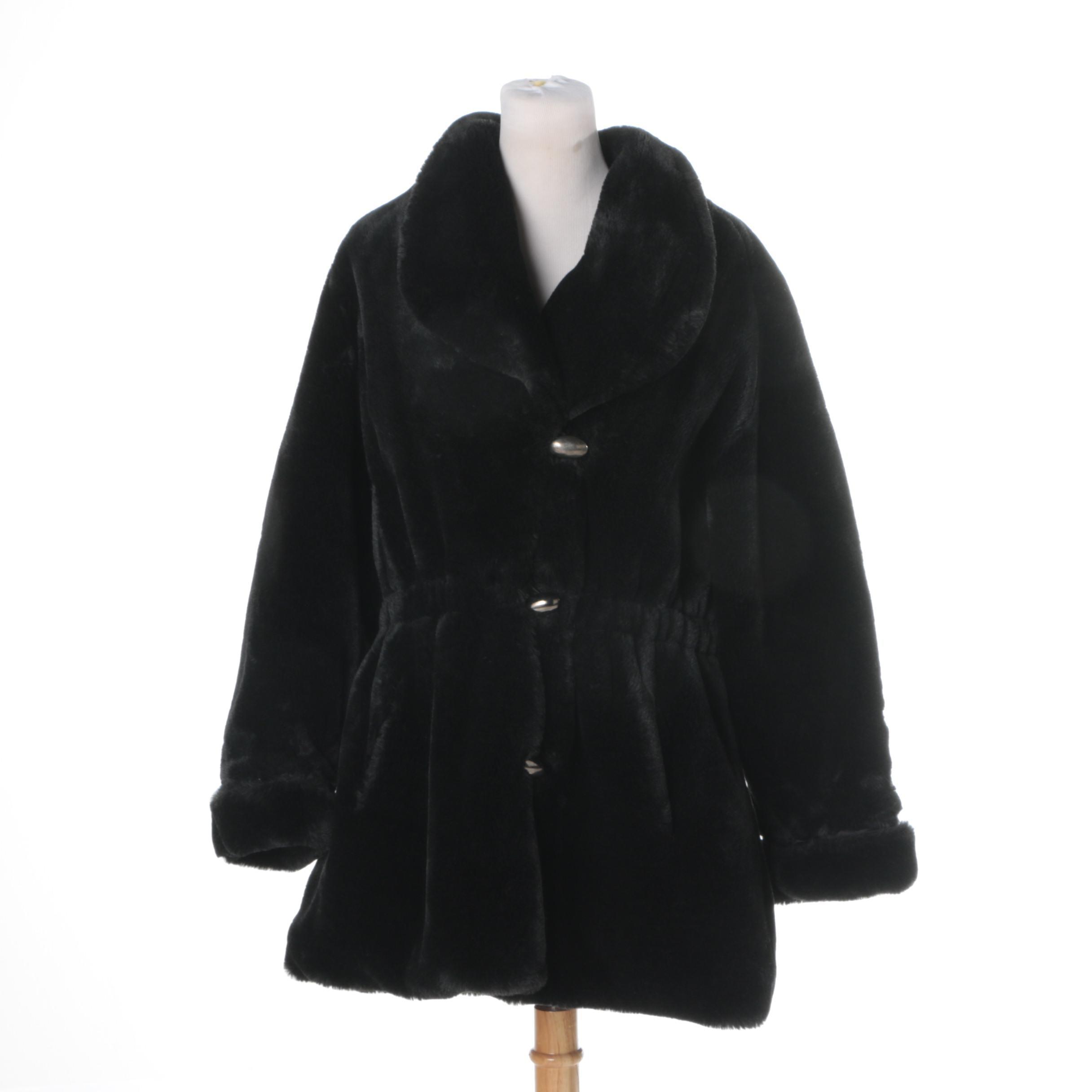 Women's Vintage Shiff Black Faux Fur Coat