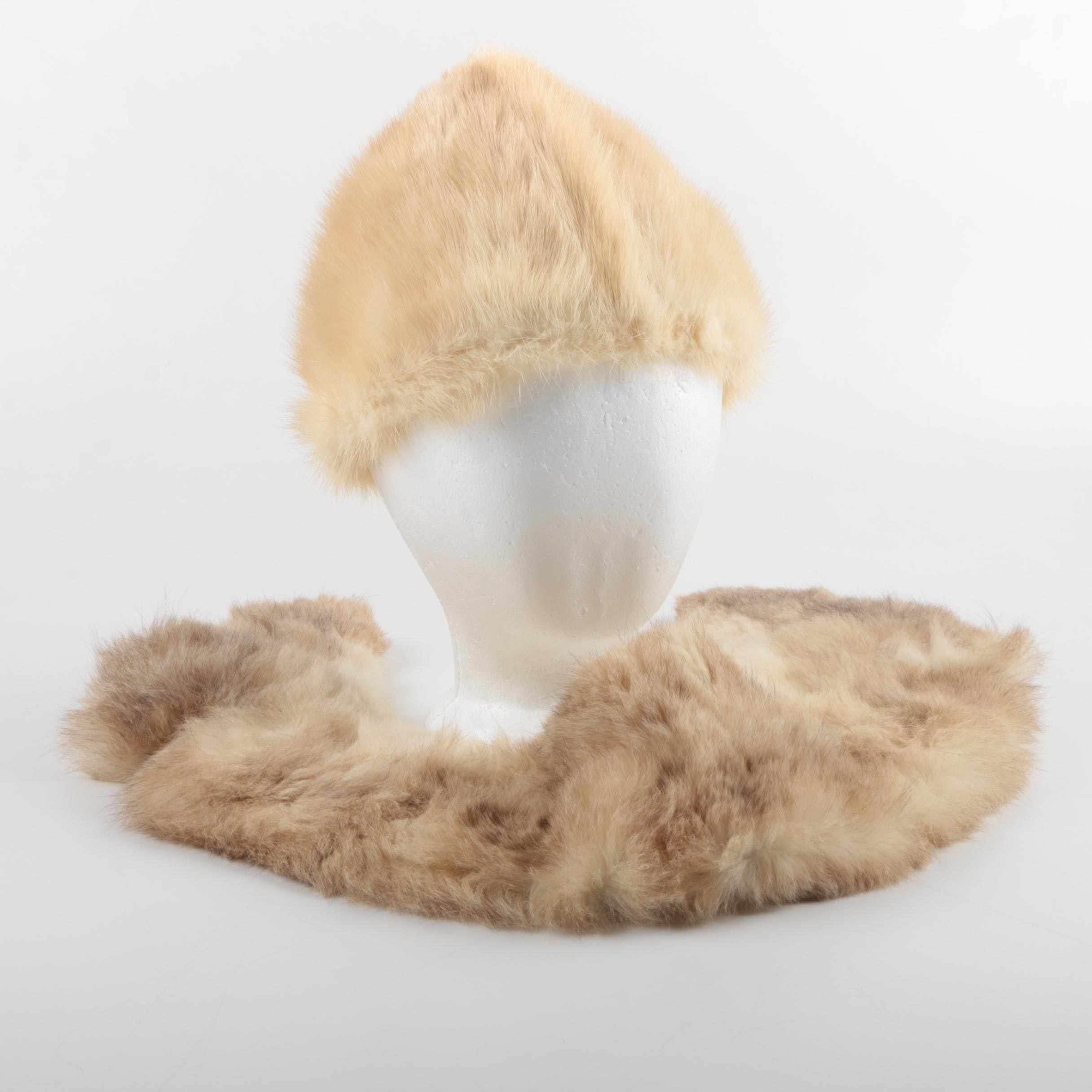 Vintage Fur Rabbit Fur Collar and Blonde Mink Fur Hat