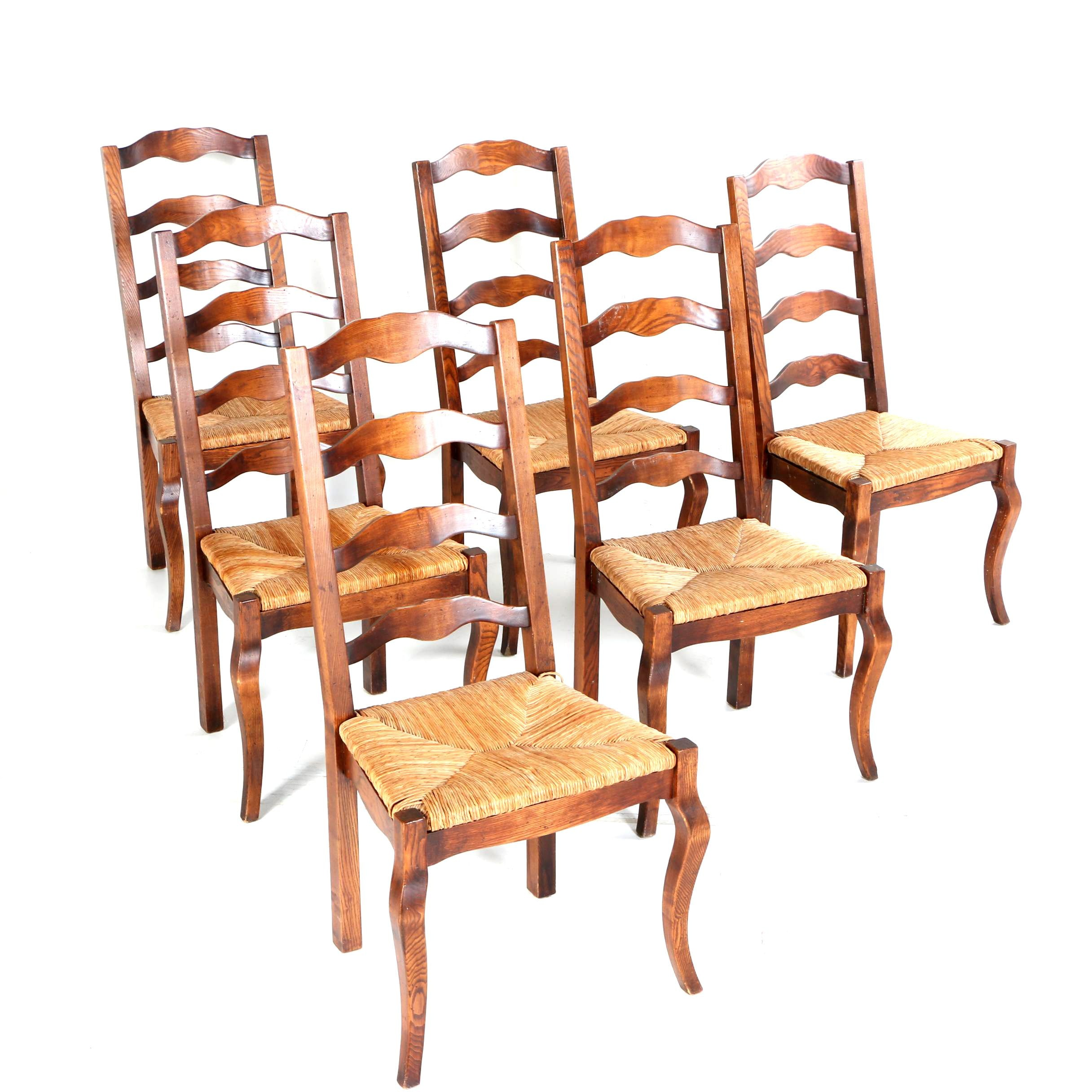 Six Oak and Rush Ladder Back Chairs
