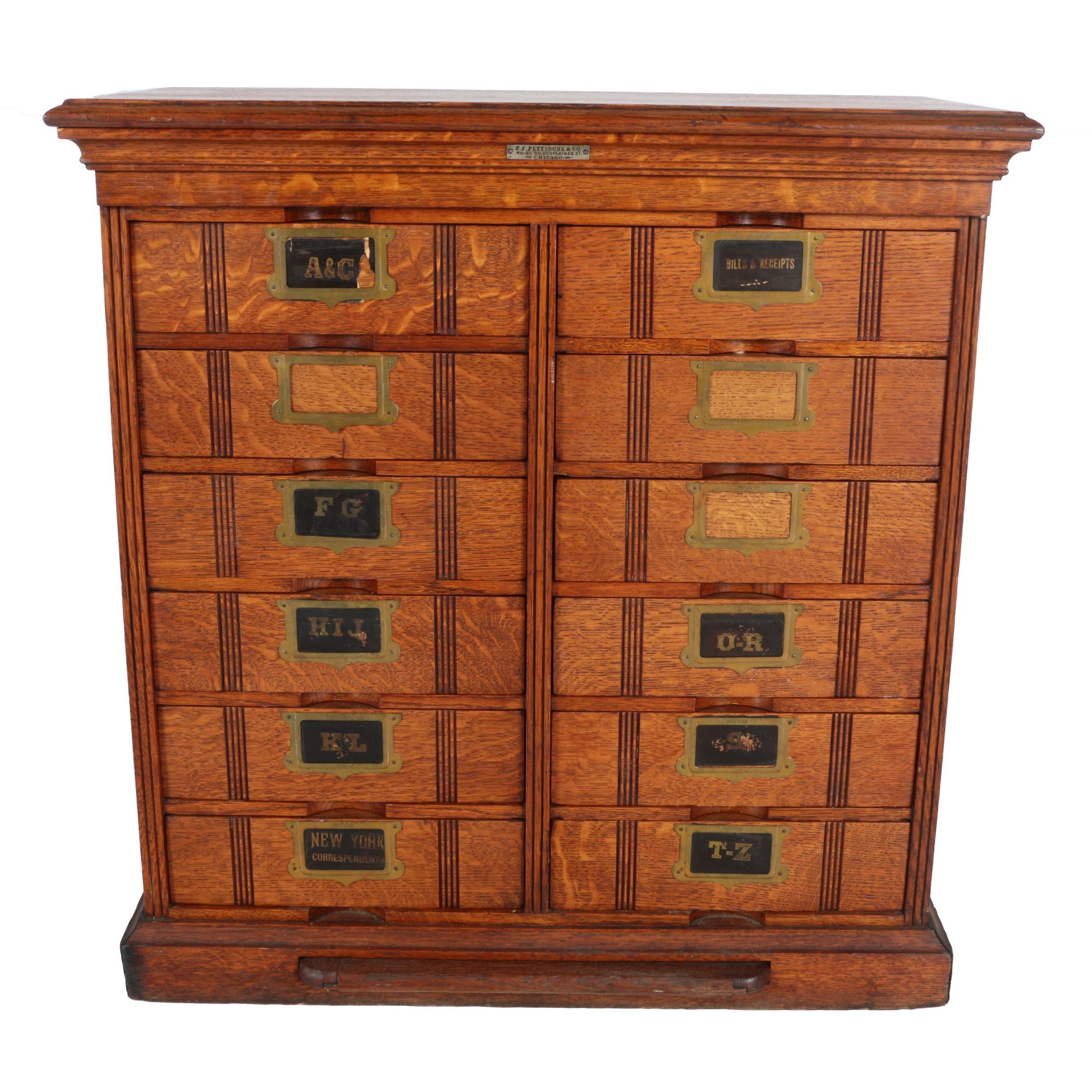 Antique Oak Document Sorter Chest by P. F. Pettibone & Co.