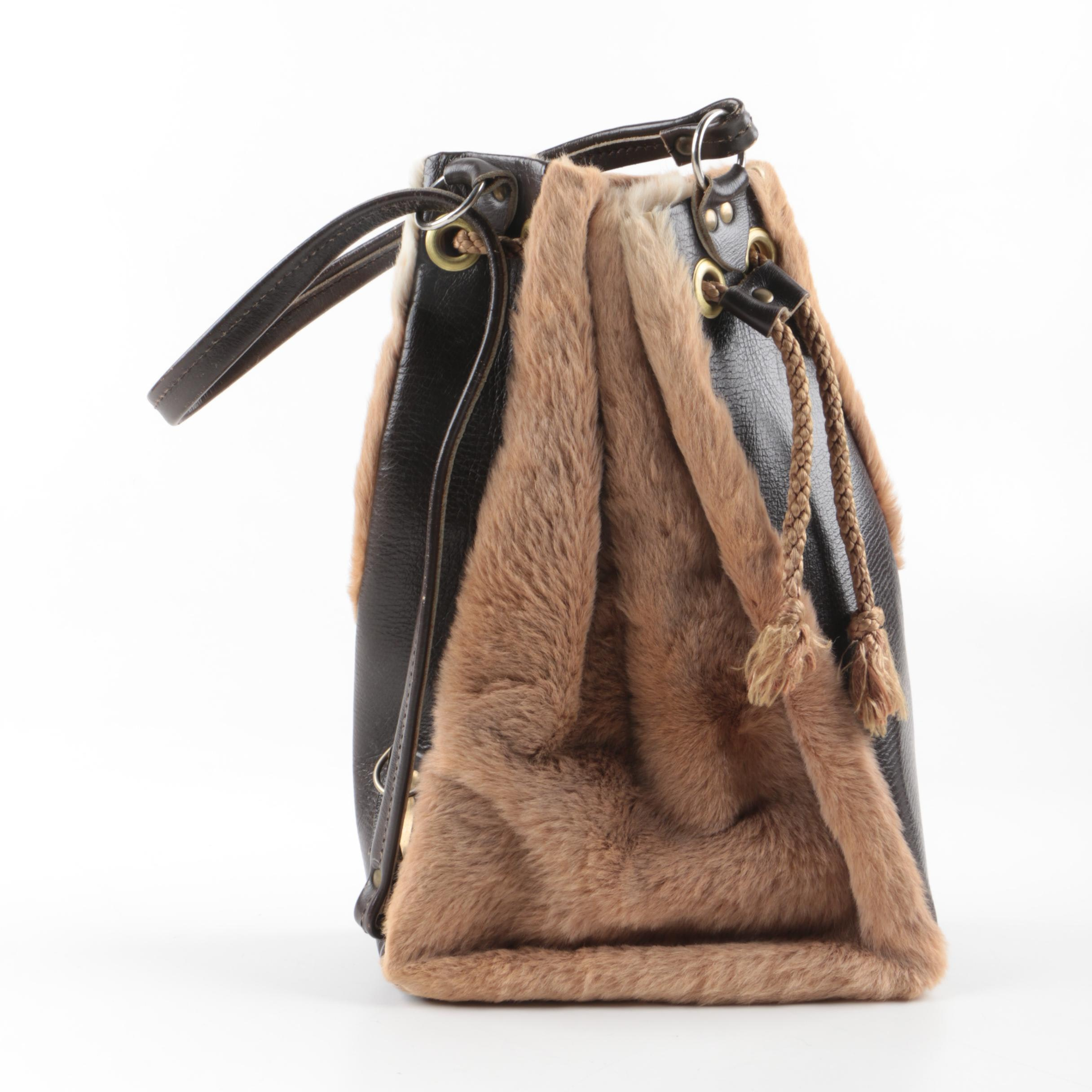 Kangaroo Fur and Leather Drawstring Bucket Handbag