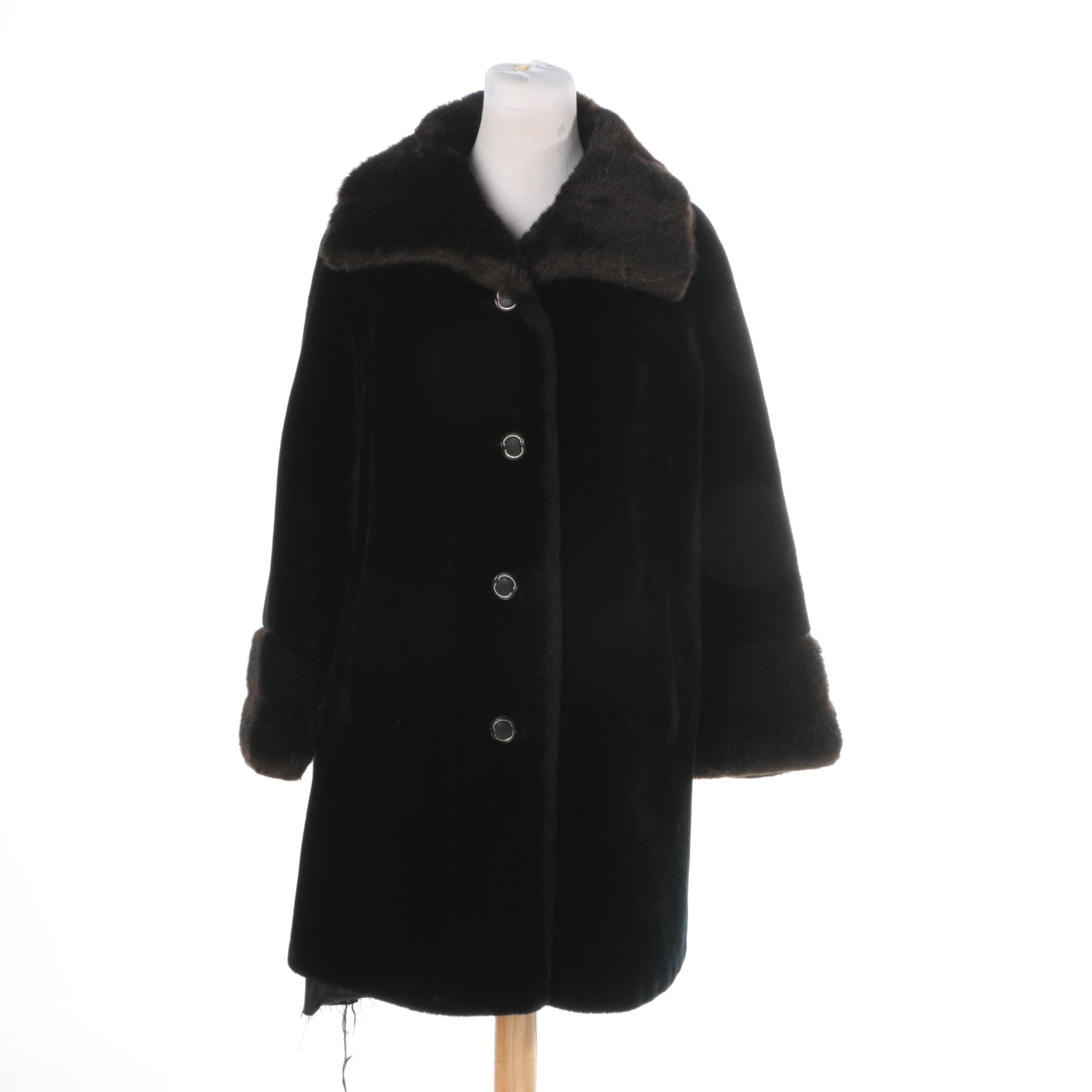 Women's Circa 1970s Vintage Clara Stone Faux Fur Coat