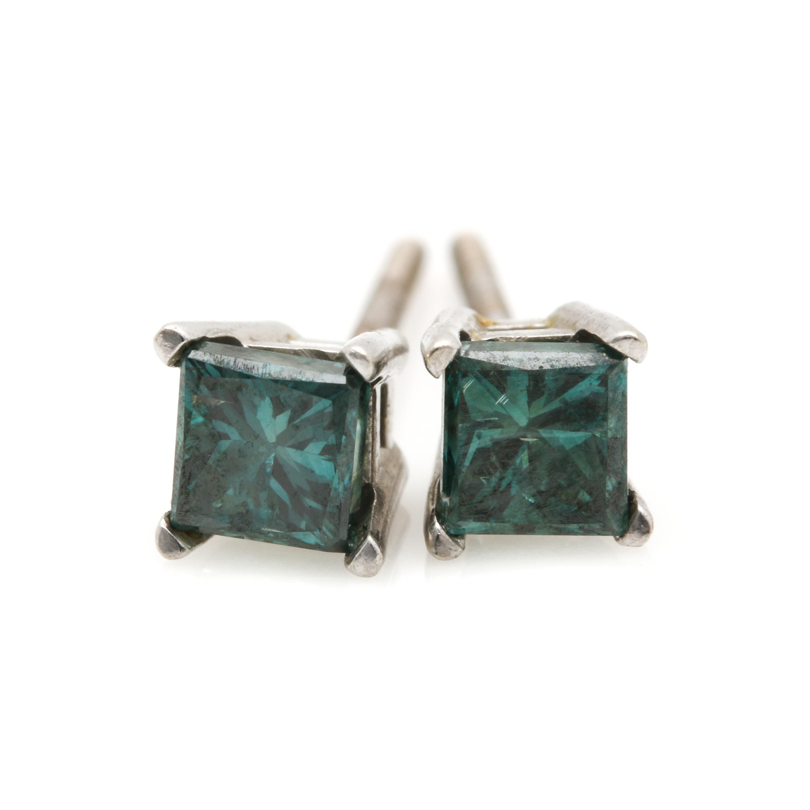 14K White Gold Irradiated Blue Diamond Stud Earrings