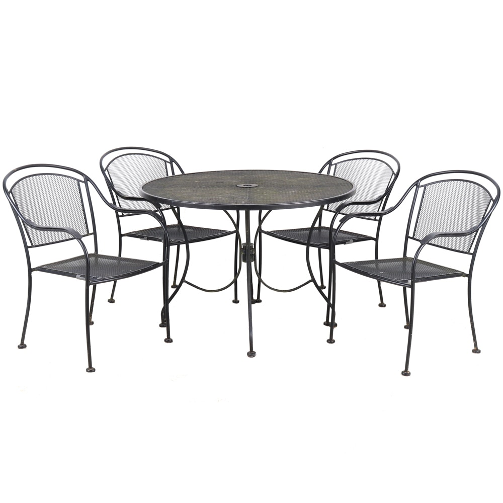 Black Metal Patio Table and Armchairs