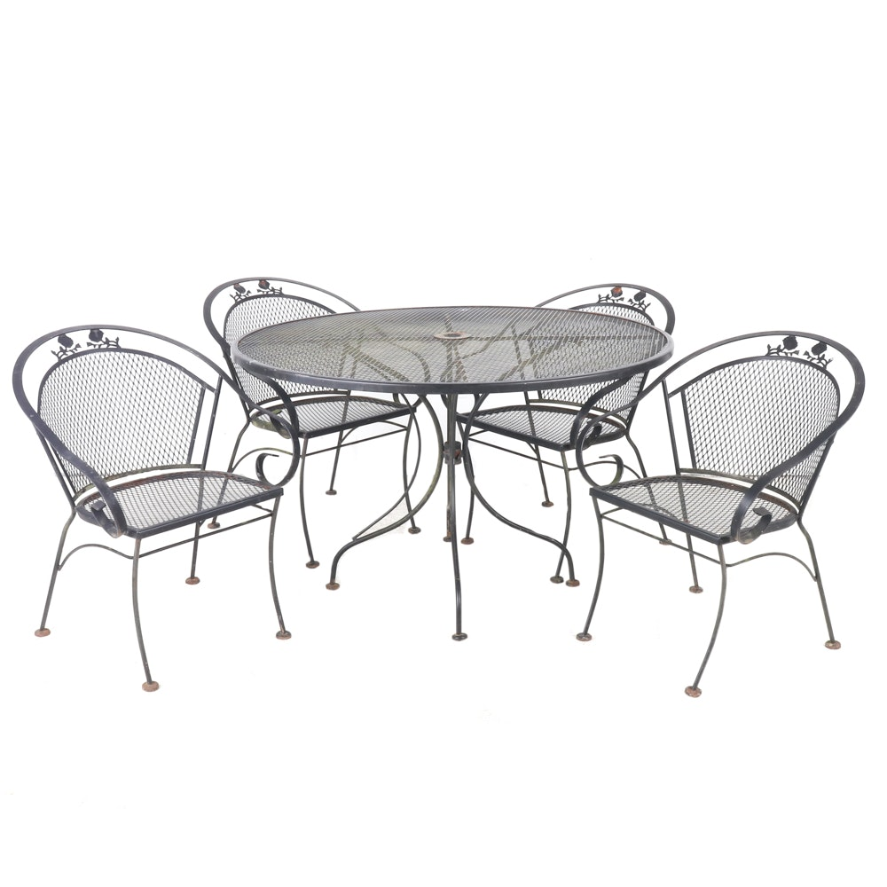 Black Metal Patio Table and Barrel Back Chairs