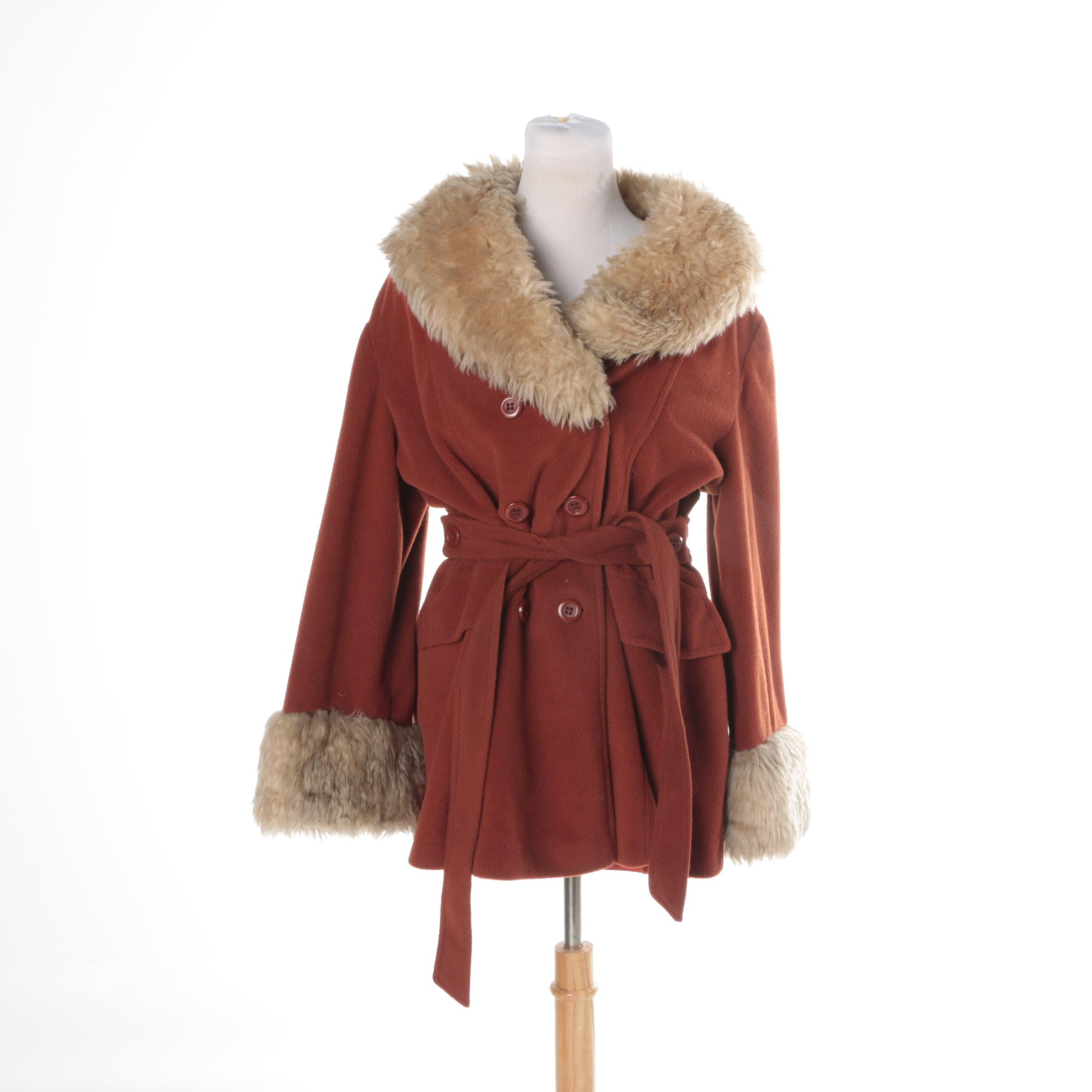 Women's Rust-Colored Wool Jacket with Faux Fur Collar