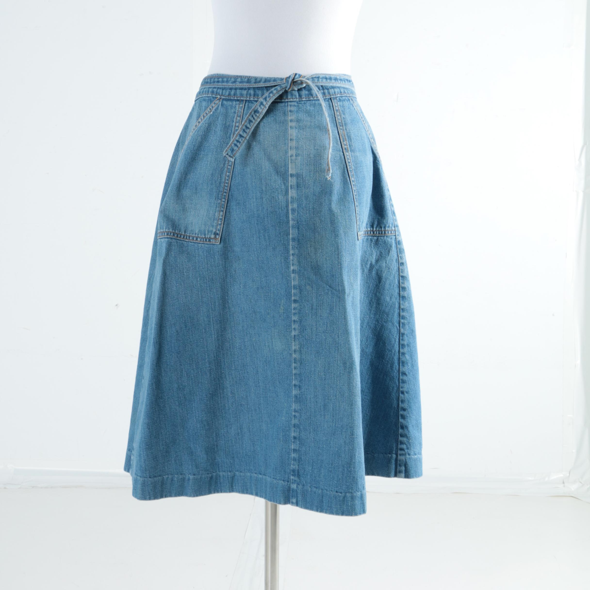 Circa 1970s Vintage LeJean Denim Wrap Skirt
