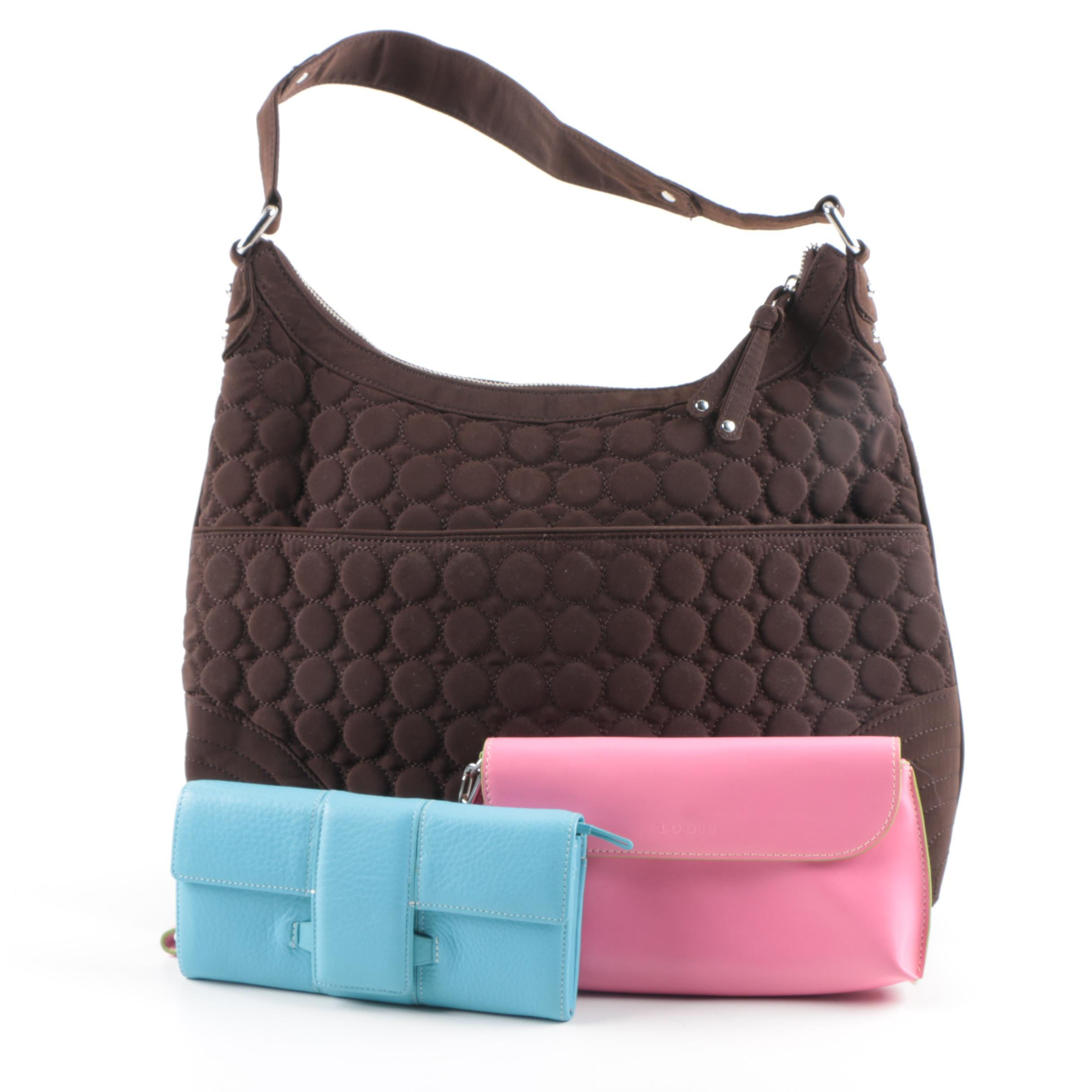 Quilted Hobo Handbag and Leather Wallets Featuring Vera Bradley